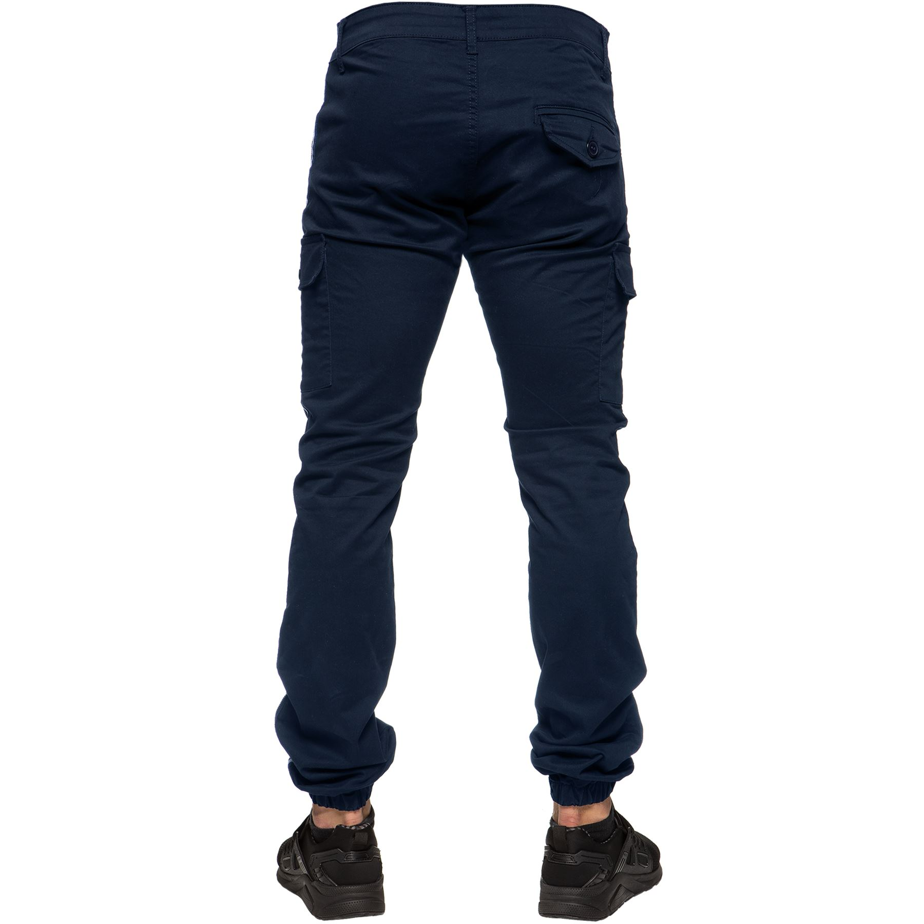 Enzo-Jeans-Mens-Combat-Trousers-Cargo-Chinos-Slim-Stretch-Cuffed-Joggers-Pants thumbnail 10