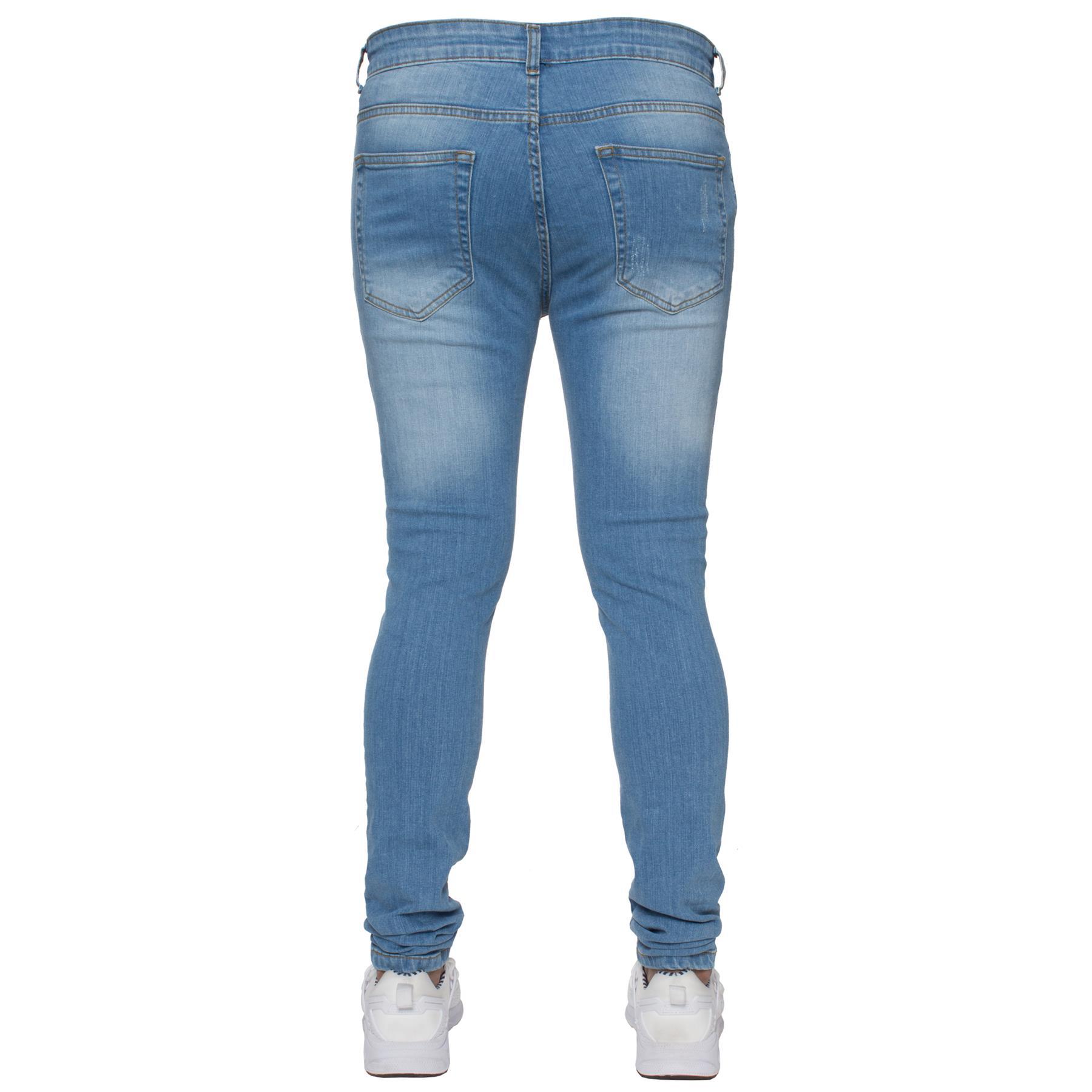 Para-hombre-Super-Skinny-Ripped-Jeans-Pantalones-Ajustados-desgastados-Denim-Envejecido-Todas miniatura 14