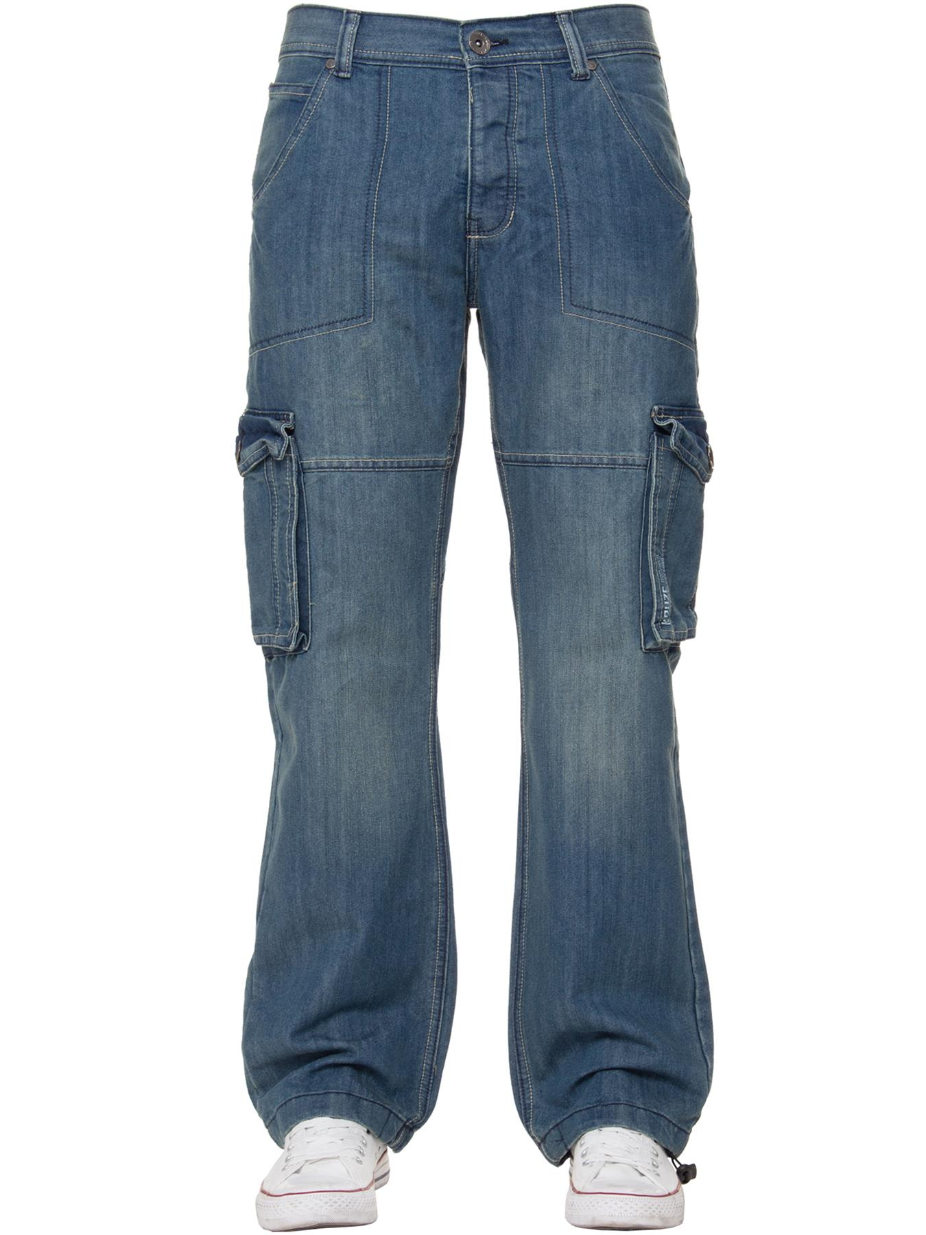 Kruze-Mens-Cargo-Combat-Jeans-Casual-Work-Denim-Pants-Big-Tall-All-Waist-Sizes thumbnail 13