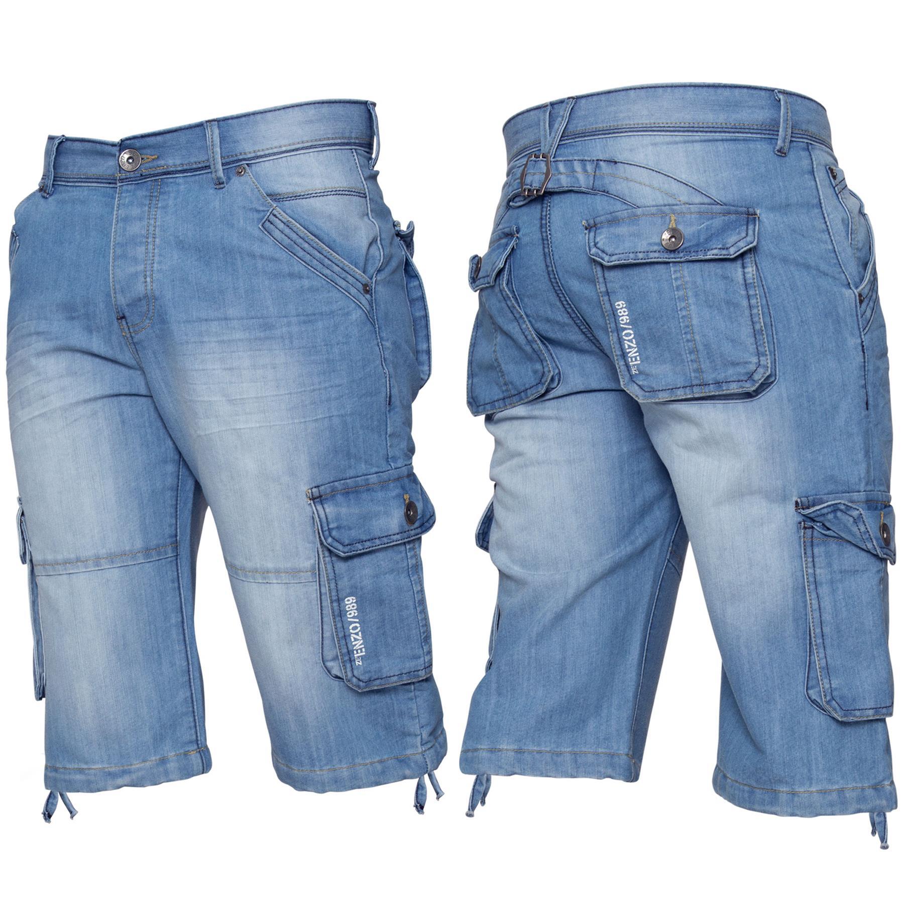 ENZO-Jeans-para-hombre-de-carga-combate-informal-de-verano-Shorts-Pantalones-Cortos-de-Jeans-Todas miniatura 13