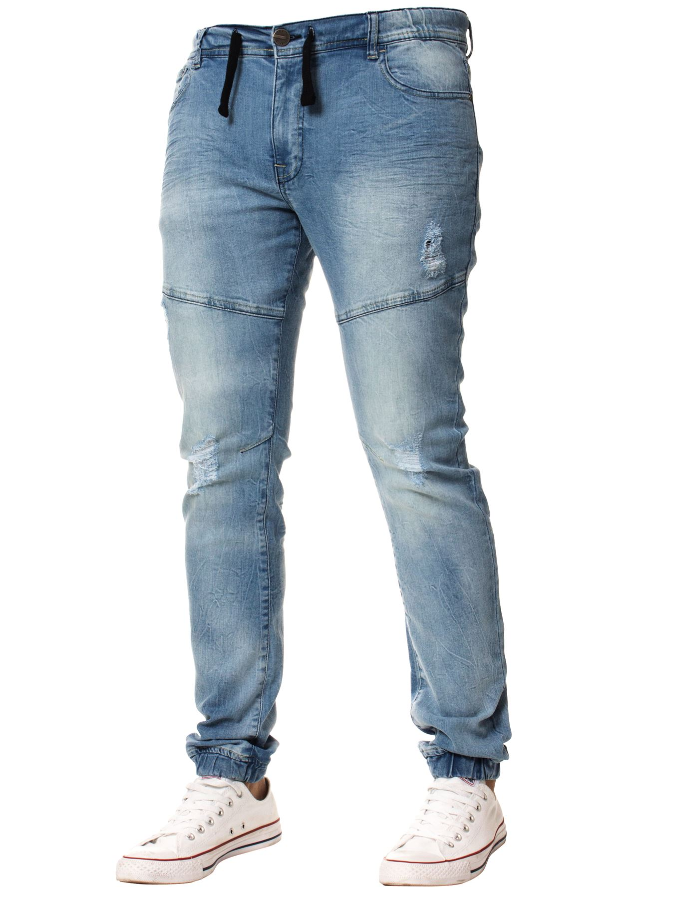 Enzo-Mens-Cuffed-Jeans-Stretch-Fit-Ripped-Denim-Jogger-Pants-Big-Tall-All-Waists thumbnail 10