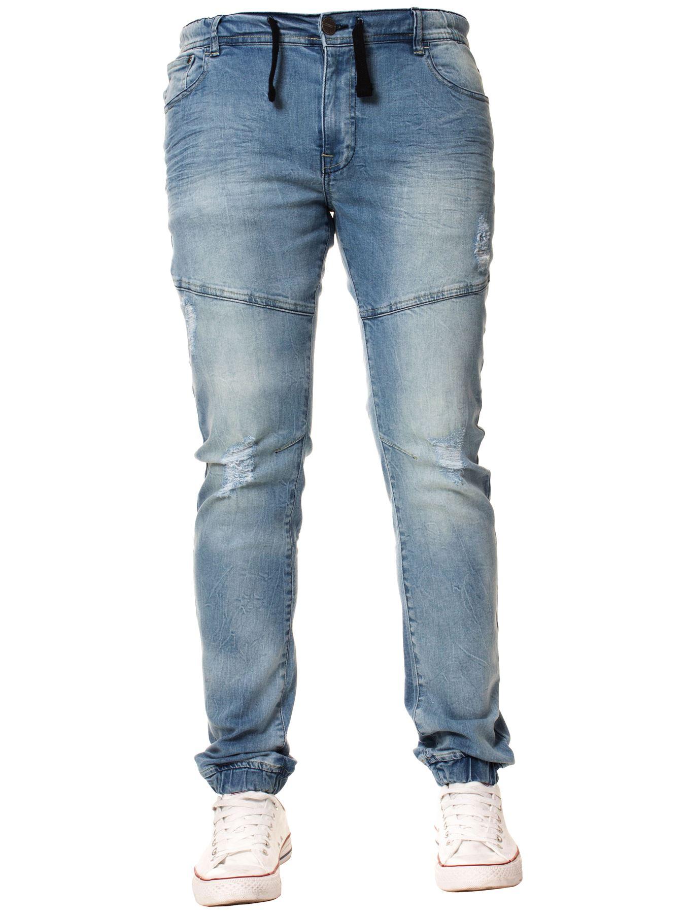 Enzo-Mens-Cuffed-Jeans-Stretch-Fit-Ripped-Denim-Jogger-Pants-Big-Tall-All-Waists thumbnail 12