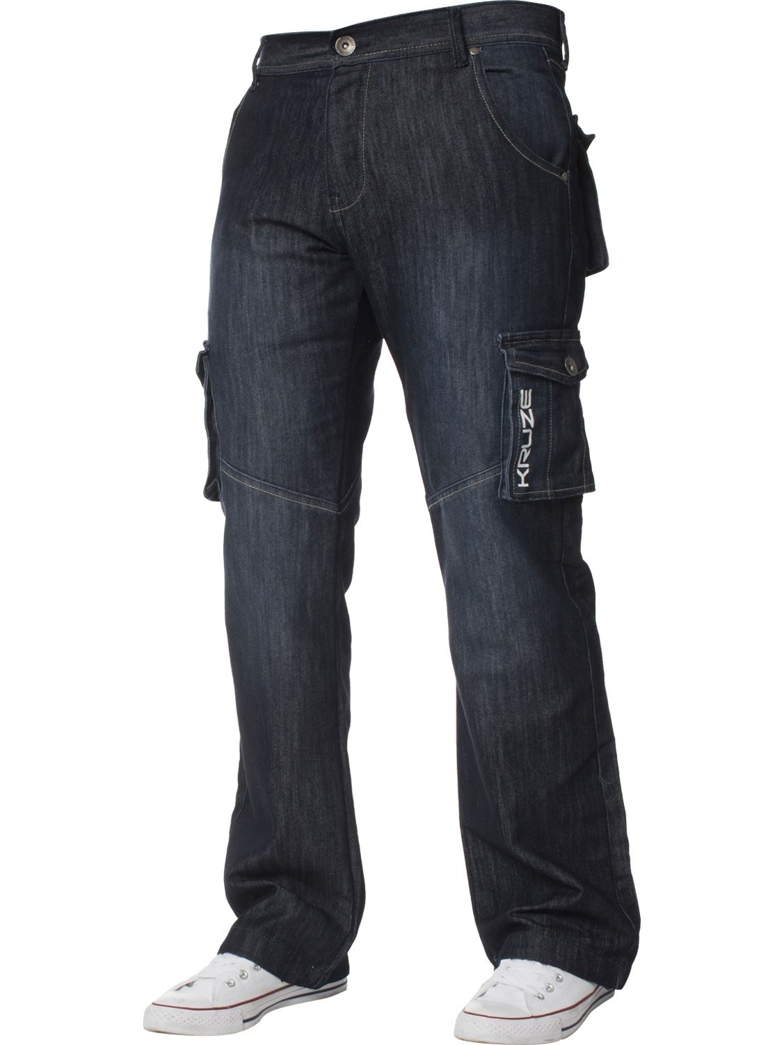 Grandes-jeans-para-hombre-de-combate-de-Kruze-Rey-Alto-Pierna-Cargo-Pantalones-Jeans-Pantalones miniatura 14