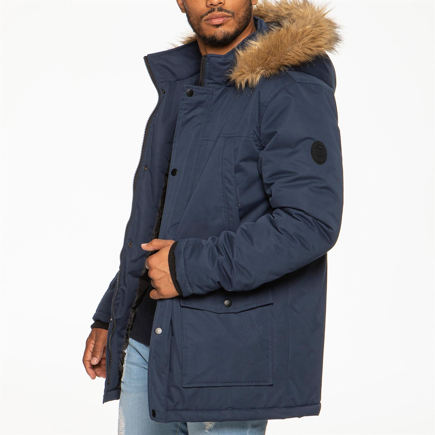 Mens-Parka-Jacket-Faux-Fur-Trimmed-Hooded-Winter-Warm-Long-Padded-Outerwear-Coat thumbnail 7