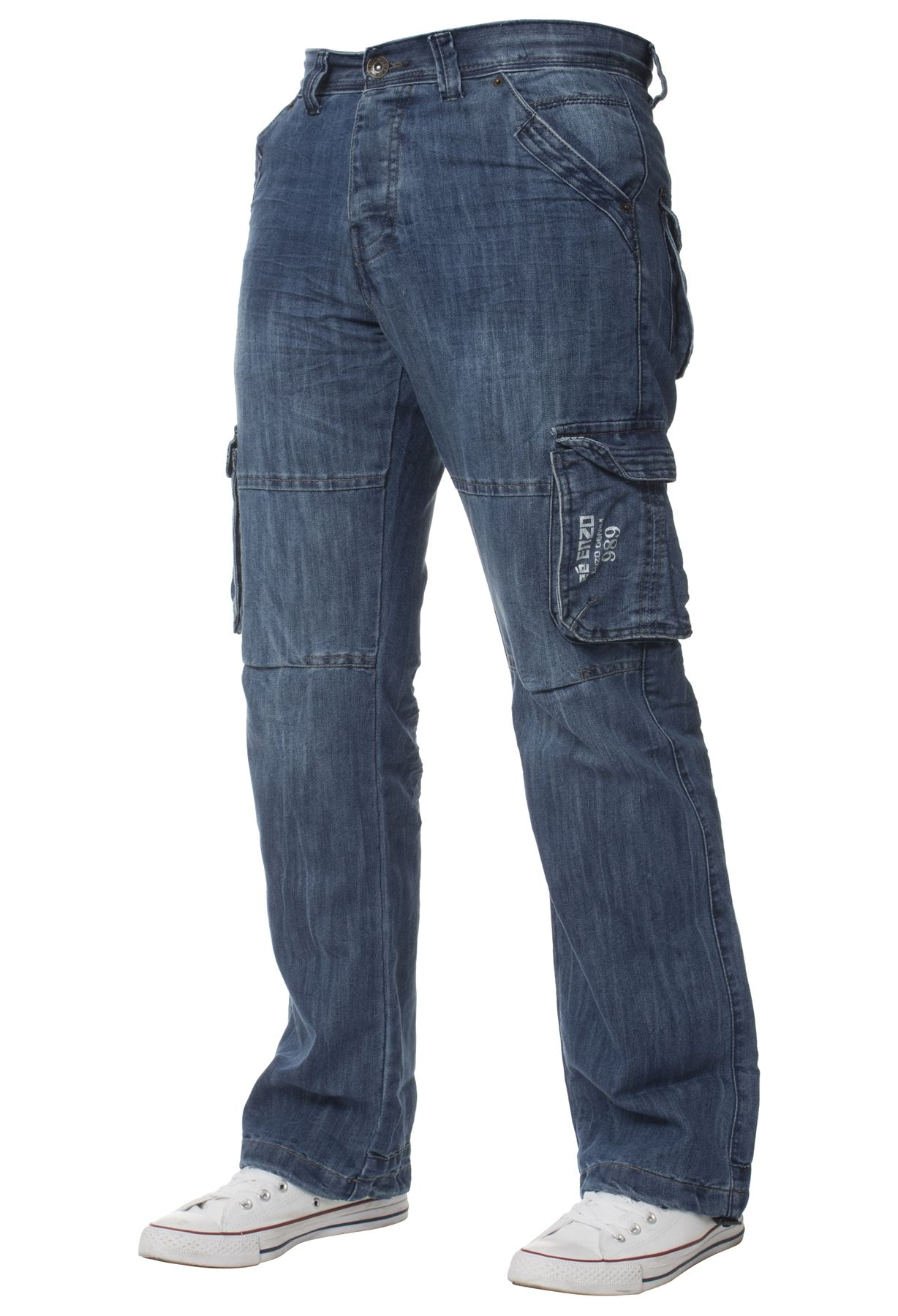 Enzo-Mens-Cargo-Combat-Trousers-Jeans-Work-Casual-Denim-Pants-Big-Tall-All-Waist thumbnail 8