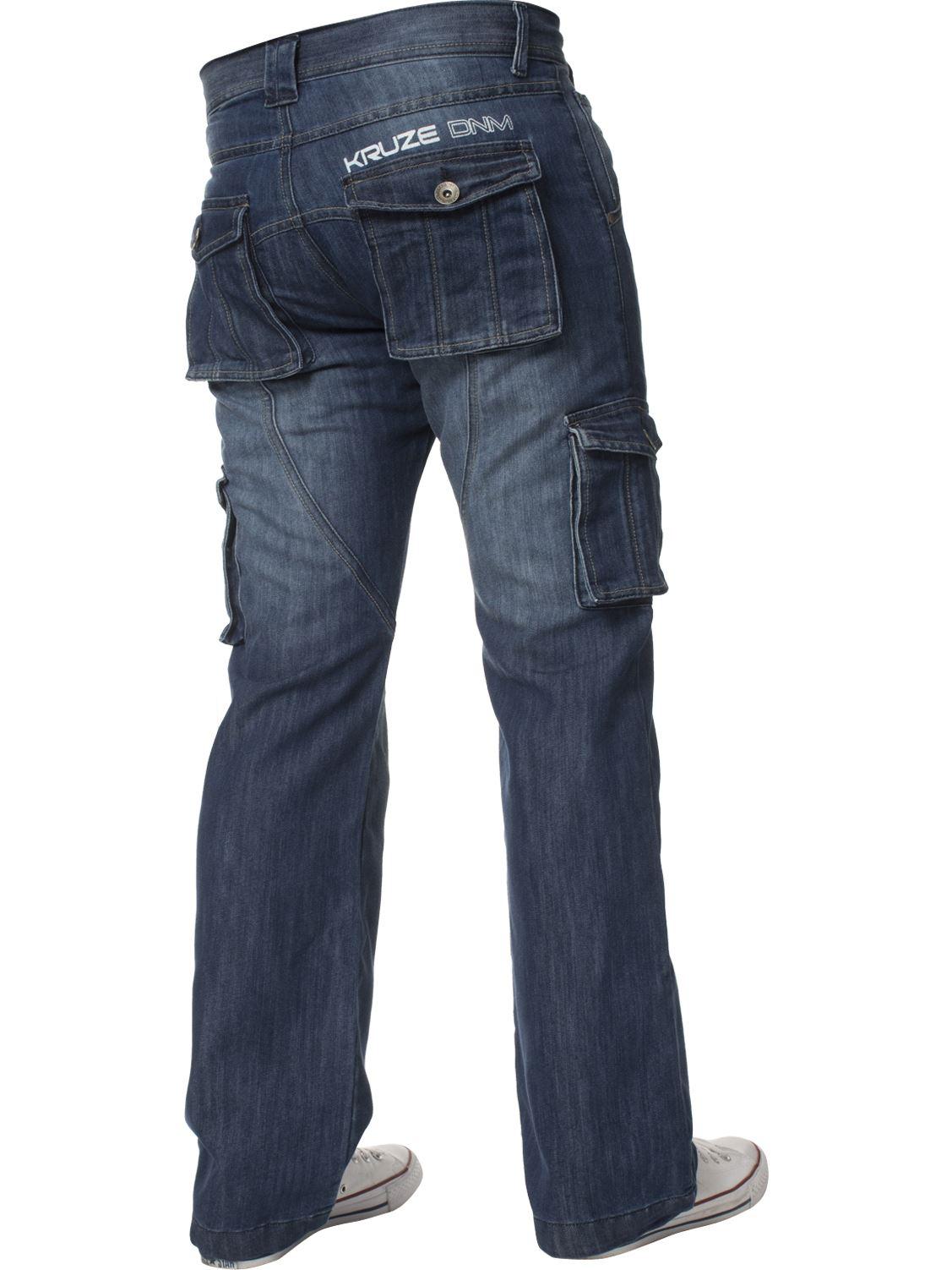 Mens-Jeans-Combate-Carga-Informal-Kruze-Trabajo-Pantalones-Cintura-Tallas-Denim-Pantalones-de-vestir miniatura 15