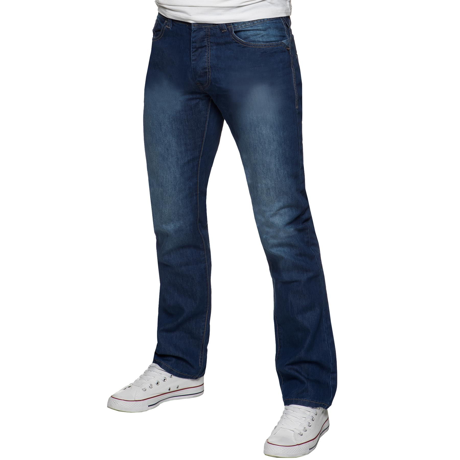 Kruze-Mens-Basic-Straight-Leg-Bootcut-Stretch-Jeans-Denim-Regular-Big-Tall-Waist thumbnail 25