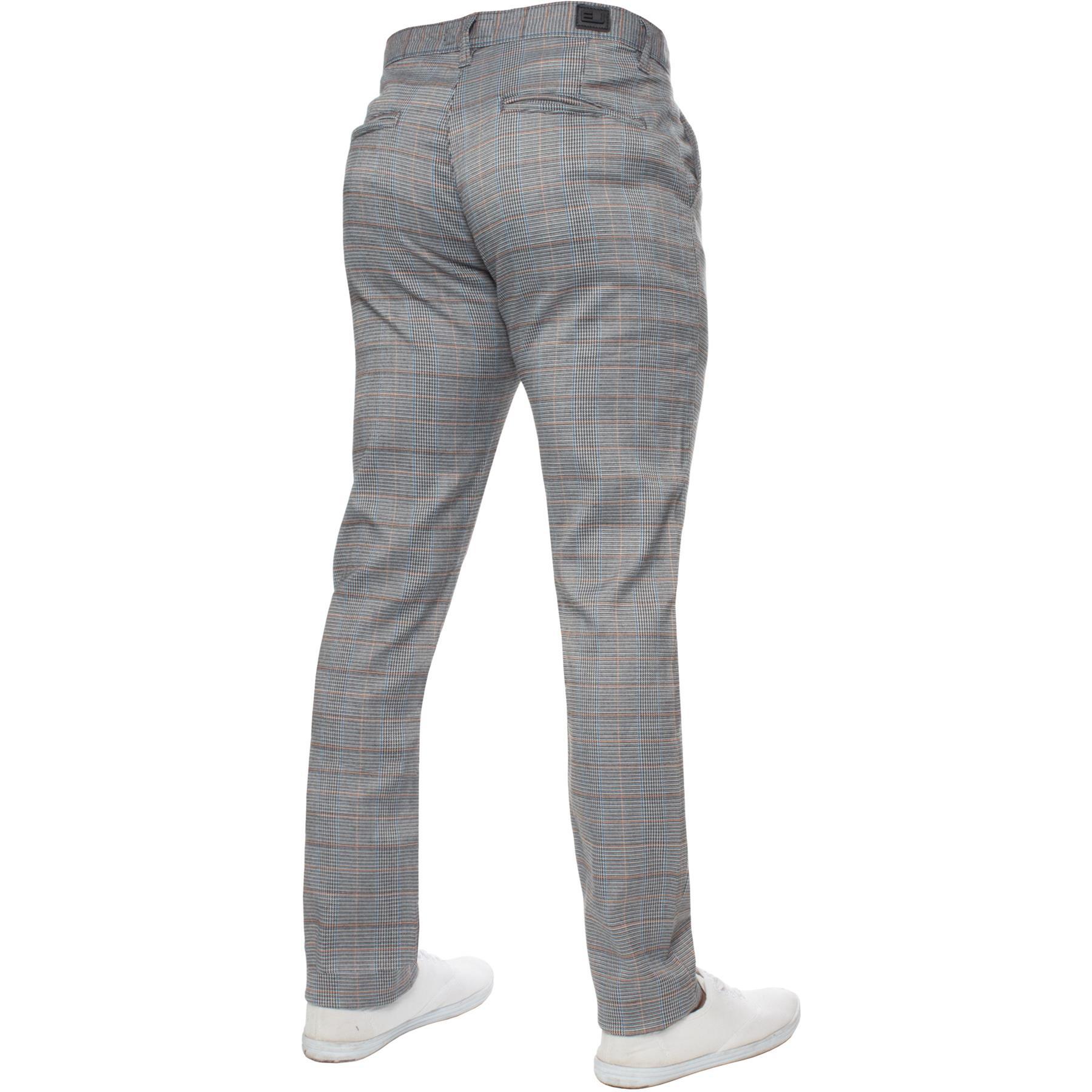 Para-Hombre-a-Cuadros-Pantalones-Slim-Fit-Smart-Casual-Elastico-Suave-Oficina-de-Trabajo-Pantalones miniatura 14