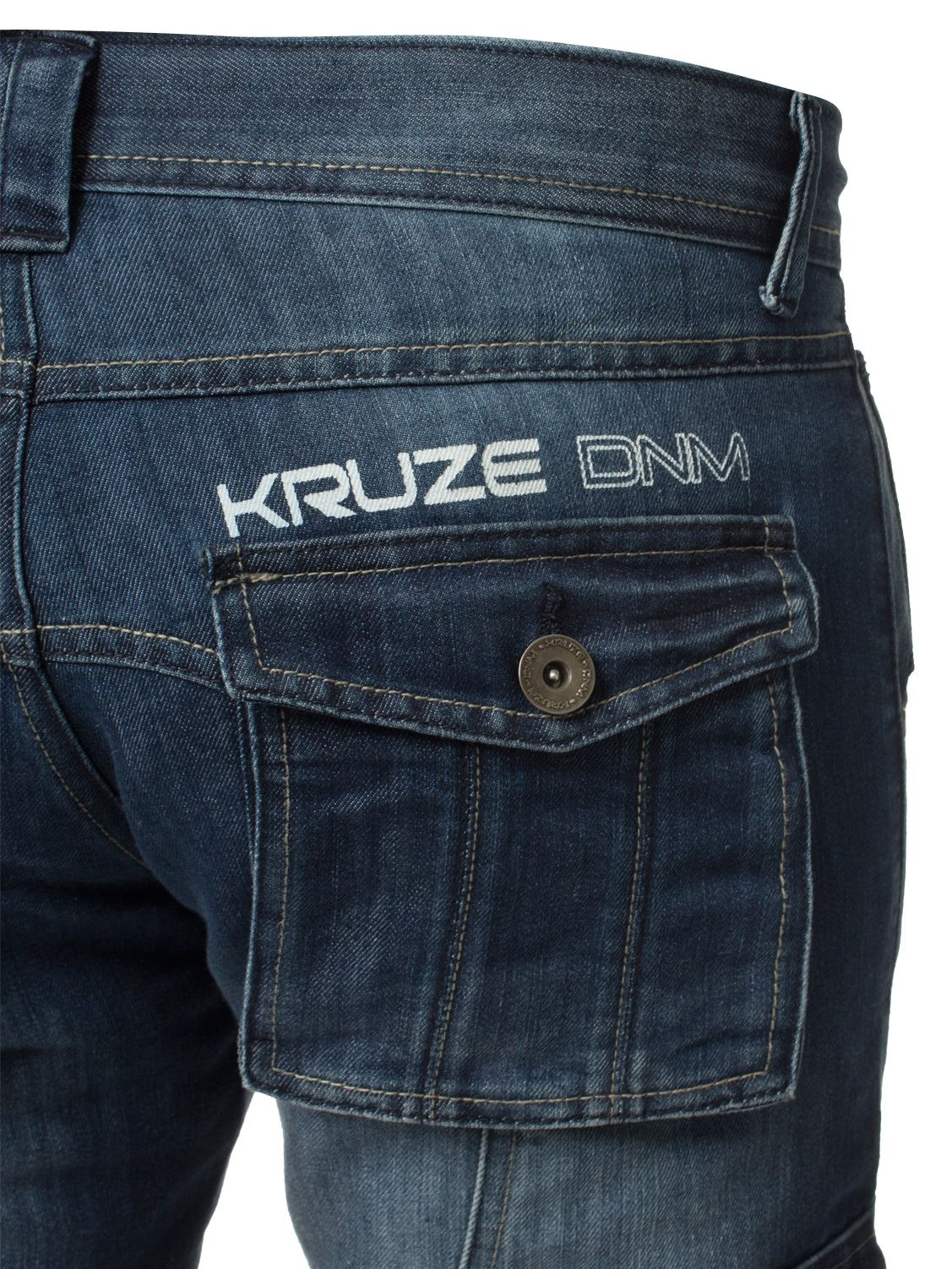 Grandes-jeans-para-hombre-de-combate-de-Kruze-Rey-Alto-Pierna-Cargo-Pantalones-Jeans-Pantalones miniatura 9
