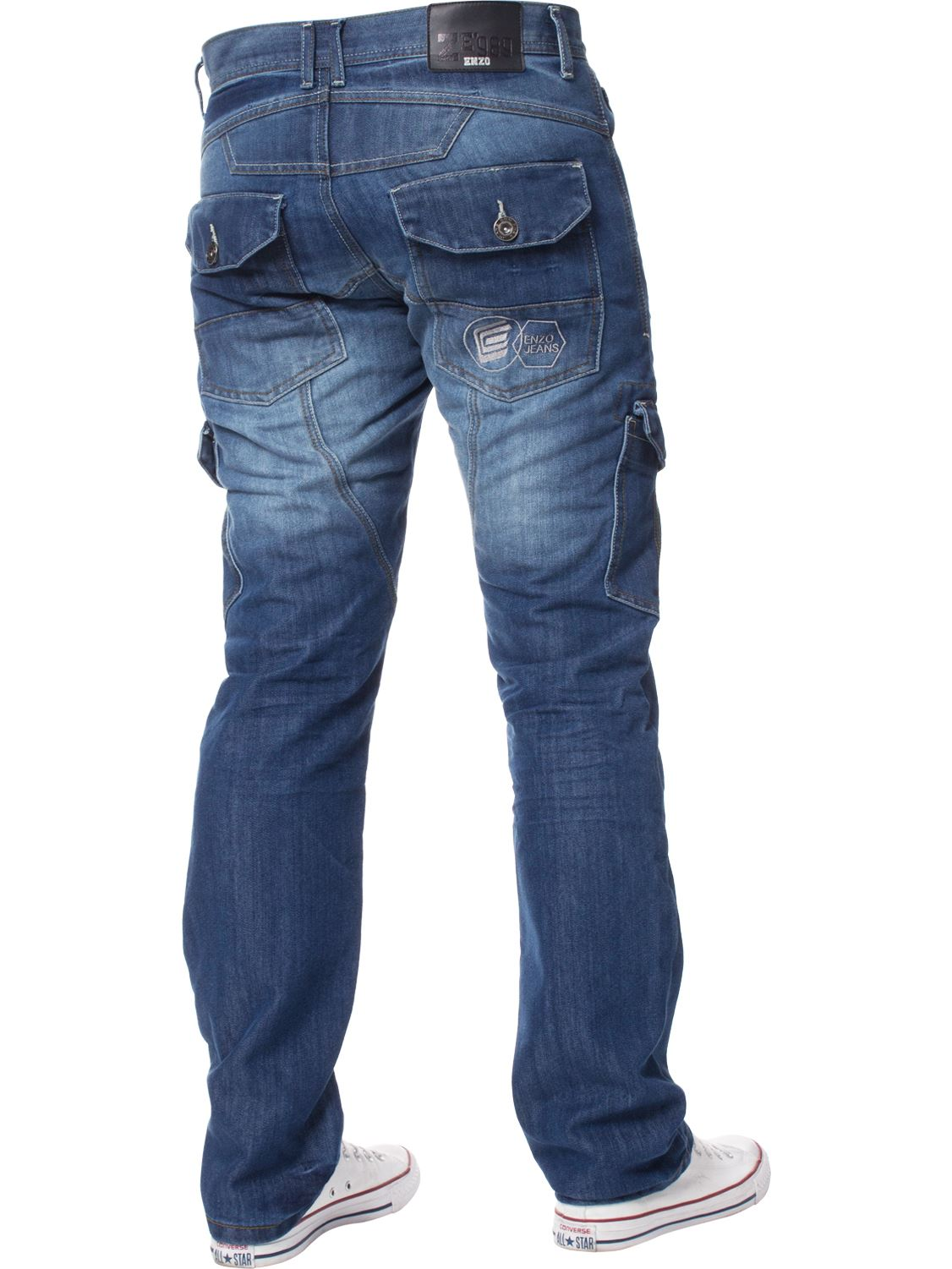 Enzo-Designer-Mens-Regular-Fit-Jeans-Straight-Leg-Denim-Trousers-Pants-All-Waist thumbnail 13