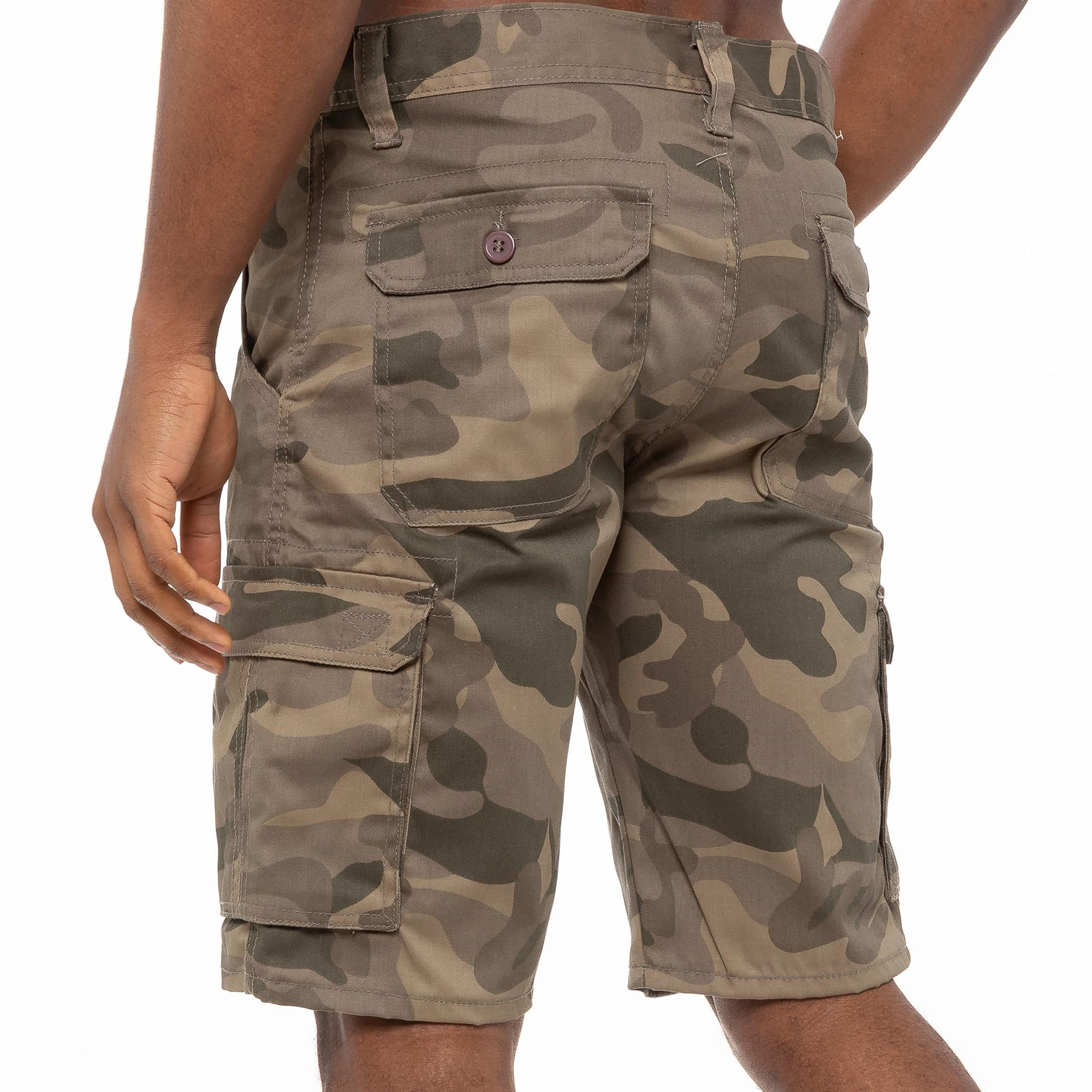 thumbnail 24 - Kruze Jeans Mens Army Combat Shorts Camouflage Cargo Casual Camo Work Half Pants