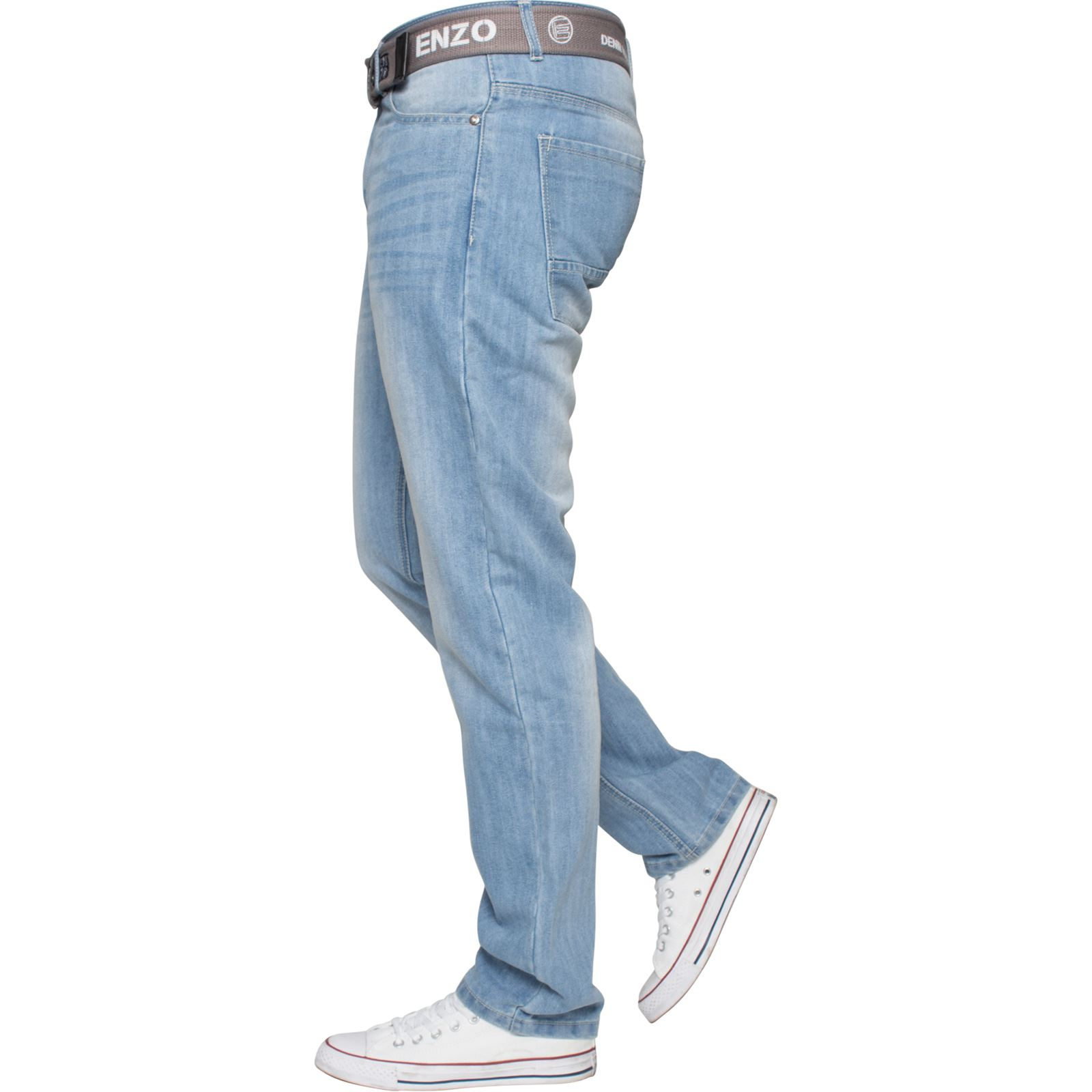Enzo-Mens-Straight-Leg-Jeans-Regular-Fit-Denim-Pants-Big-Tall-All-Waists-Sizes thumbnail 21