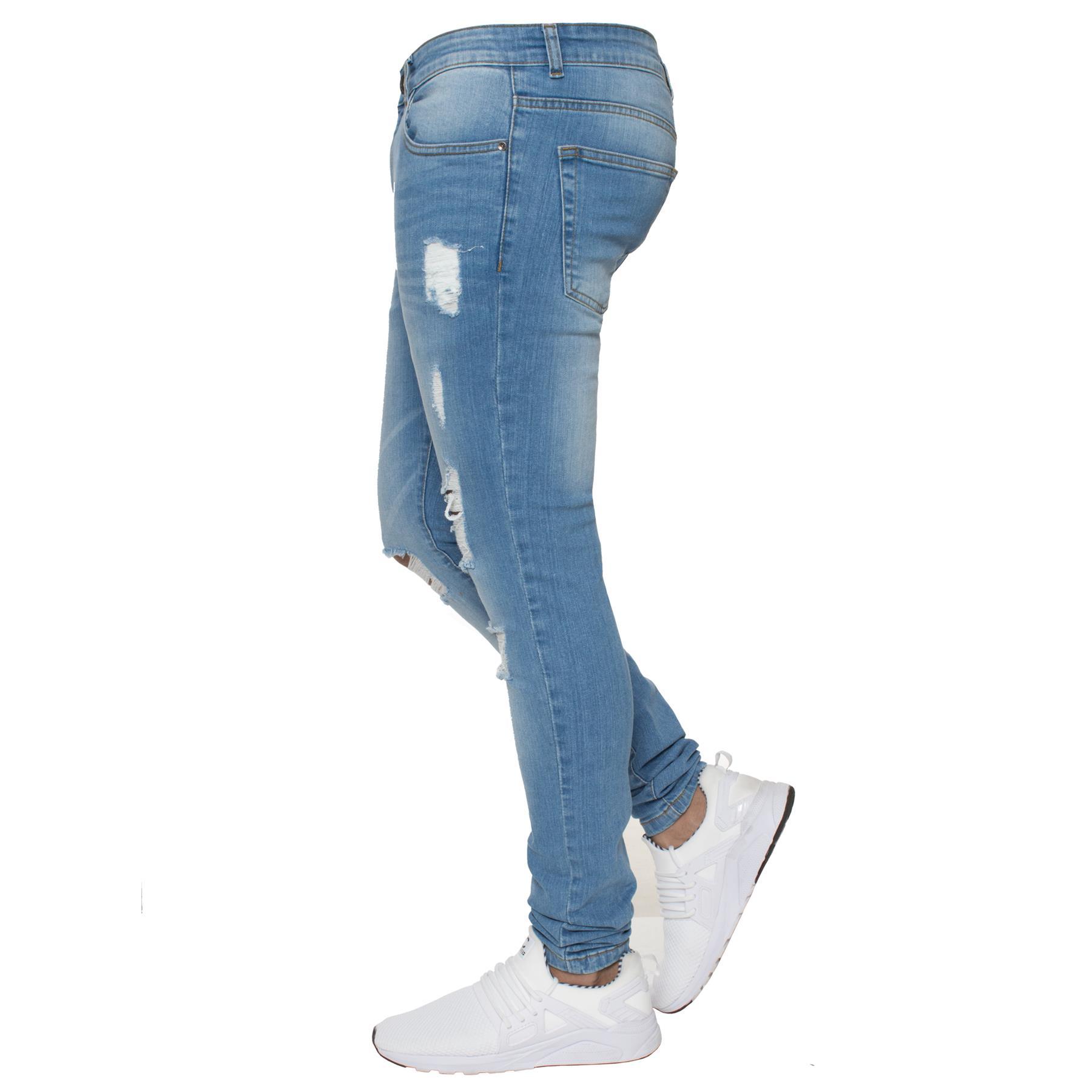Para-hombre-Super-Skinny-Ripped-Jeans-Pantalones-Ajustados-desgastados-Denim-Envejecido-Todas miniatura 12