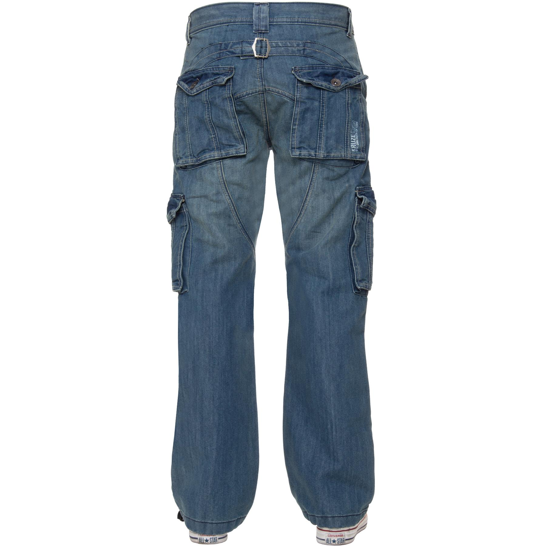 Kruze-Mens-Combat-Jeans-Casual-Cargo-Work-Denim-Trousers-Big-Tall-All-Waists thumbnail 6