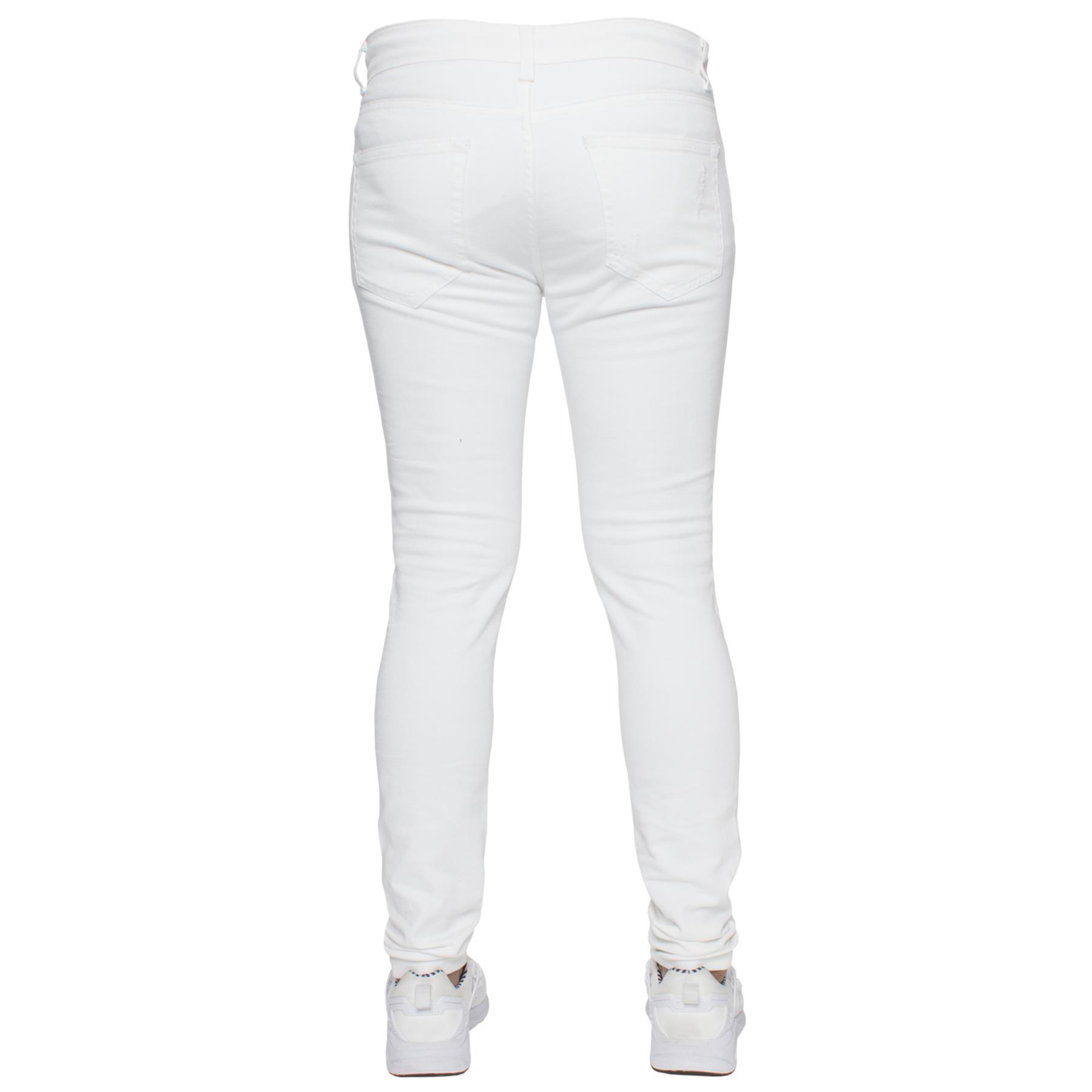 Para-hombre-Super-Skinny-Ripped-Jeans-Pantalones-Ajustados-desgastados-Denim-Envejecido-Todas miniatura 26