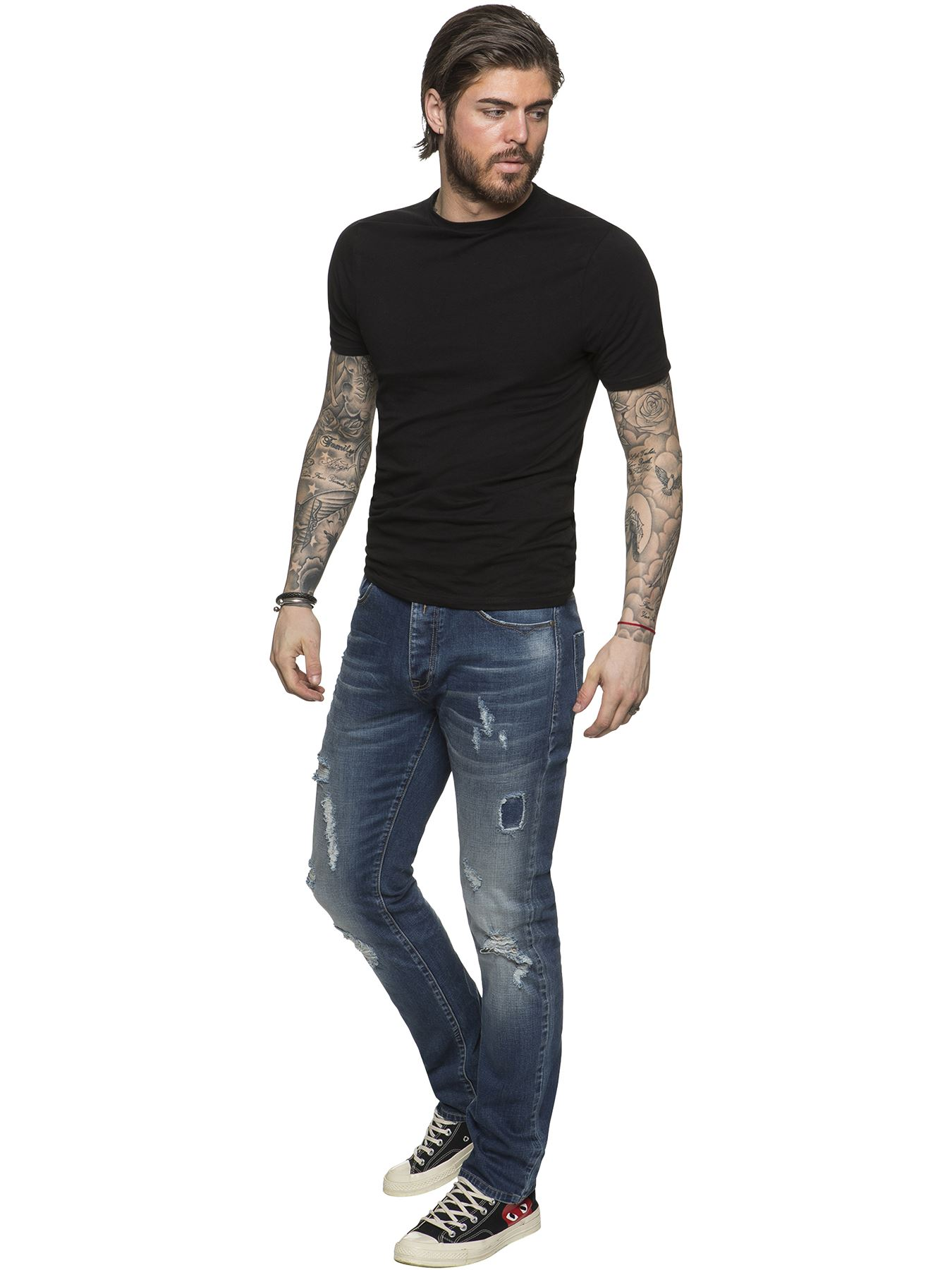 ETO-Designer-Mens-Ripped-Blue-Jeans-Distressed-Denim-Tapered-Fit-Trousers-Pants thumbnail 3