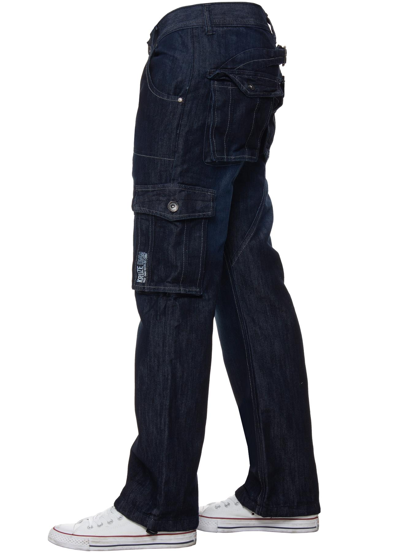 Kruze-Mens-Cargo-Combat-Jeans-Casual-Work-Denim-Pants-Big-Tall-All-Waist-Sizes thumbnail 24