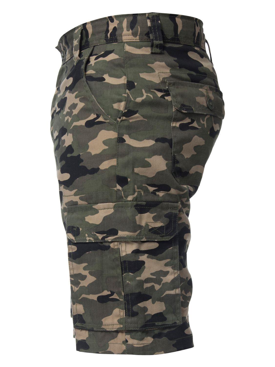 Kruze-Jeans-para-Hombre-Pantalones-Cortos-Combate-del-ejercito-camuflaje-Camo-Trabajo-Shorts miniatura 16