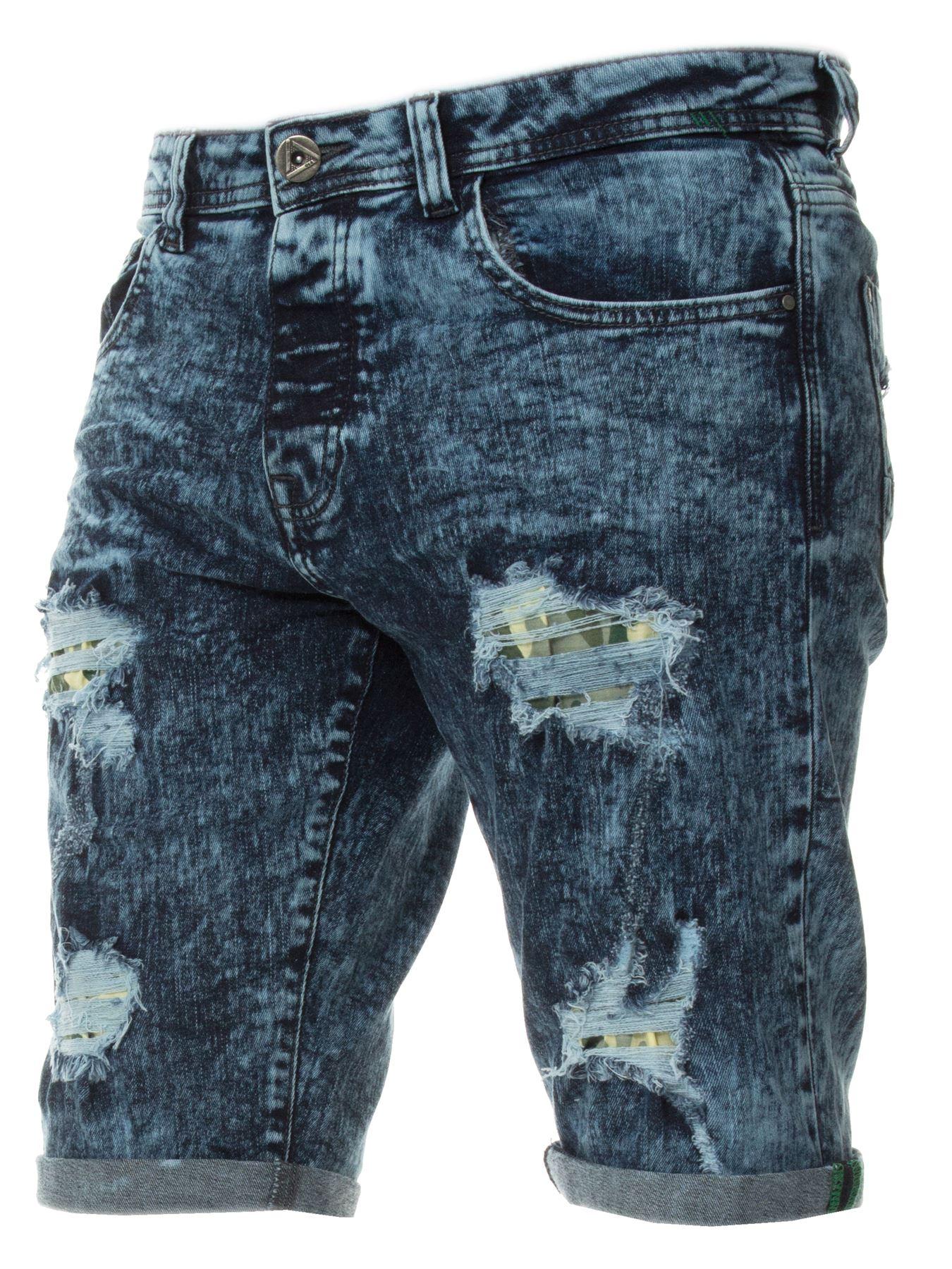 Mens-Denim-Shorts-ETO-Jeans-Stretch-Slim-Fit-Distressed-Ripped-Blue-Half-Pants thumbnail 3