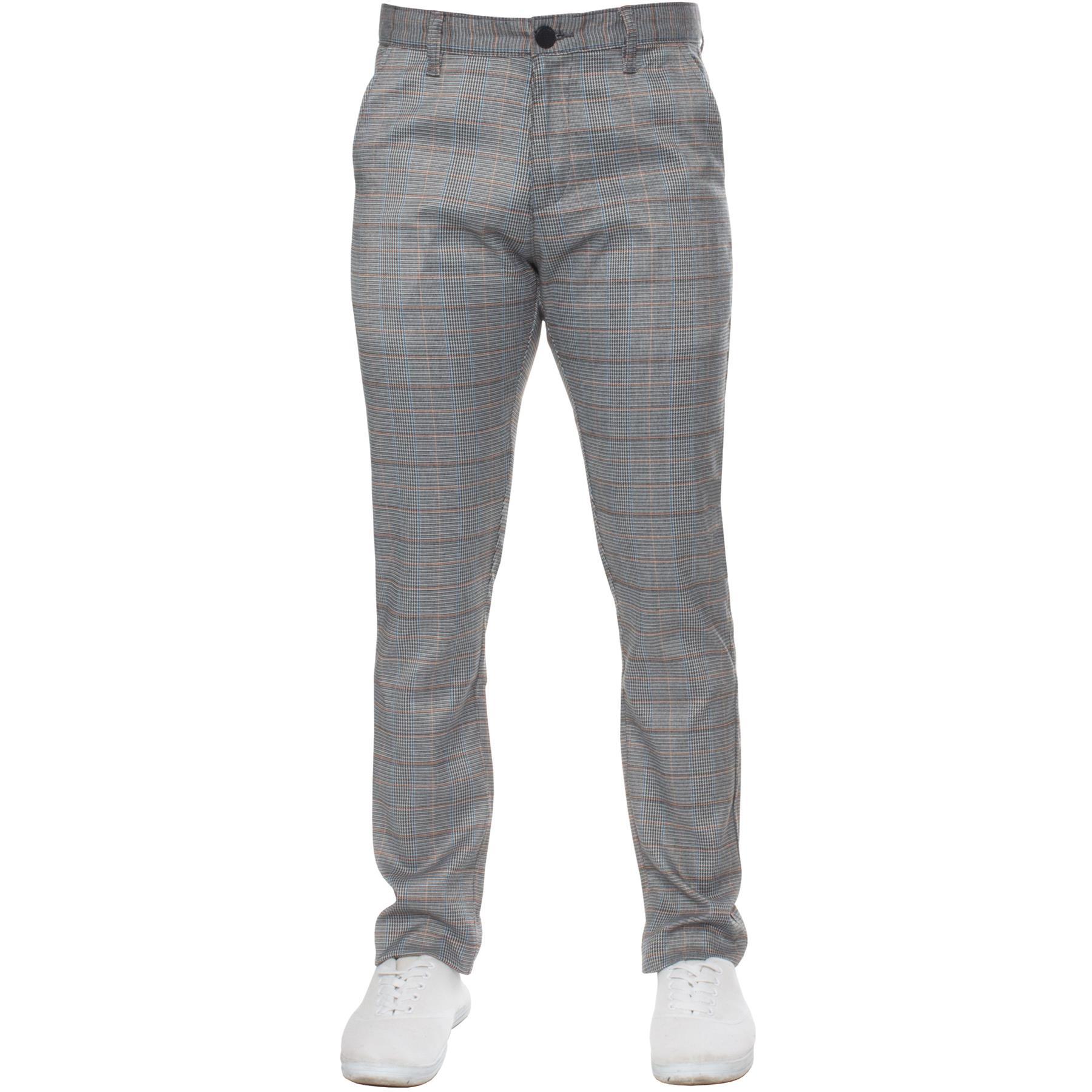 Para-Hombre-a-Cuadros-Pantalones-Slim-Fit-Smart-Casual-Elastico-Suave-Oficina-de-Trabajo-Pantalones miniatura 15
