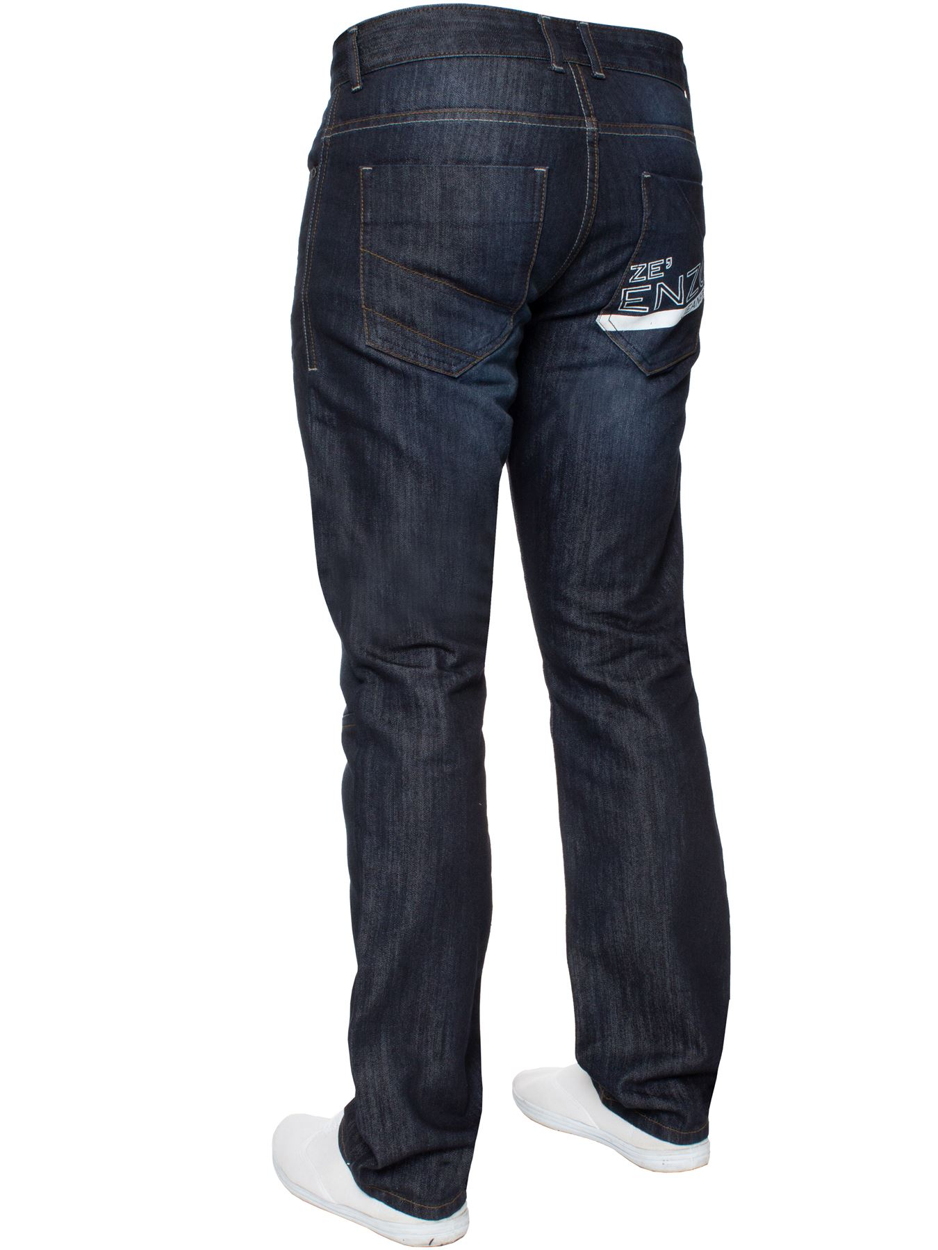 Enzo-Mens-Straight-Jeans-Regular-Leg-Designer-Work-Denim-Pants-All-Waists-Sizes thumbnail 35