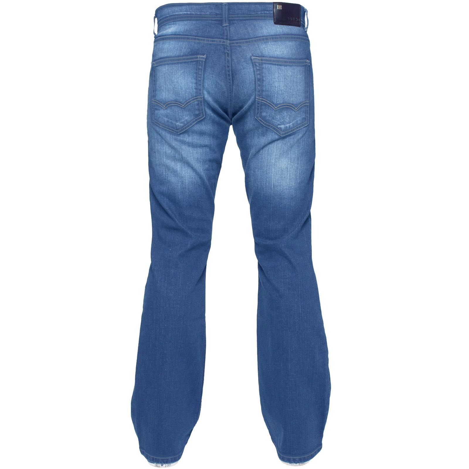 Para-Hombre-Recto-Bootcut-Stretch-Jeans-Pantalones-Regular-Fit-Grande-Alto-Todas-Cinturas miniatura 45