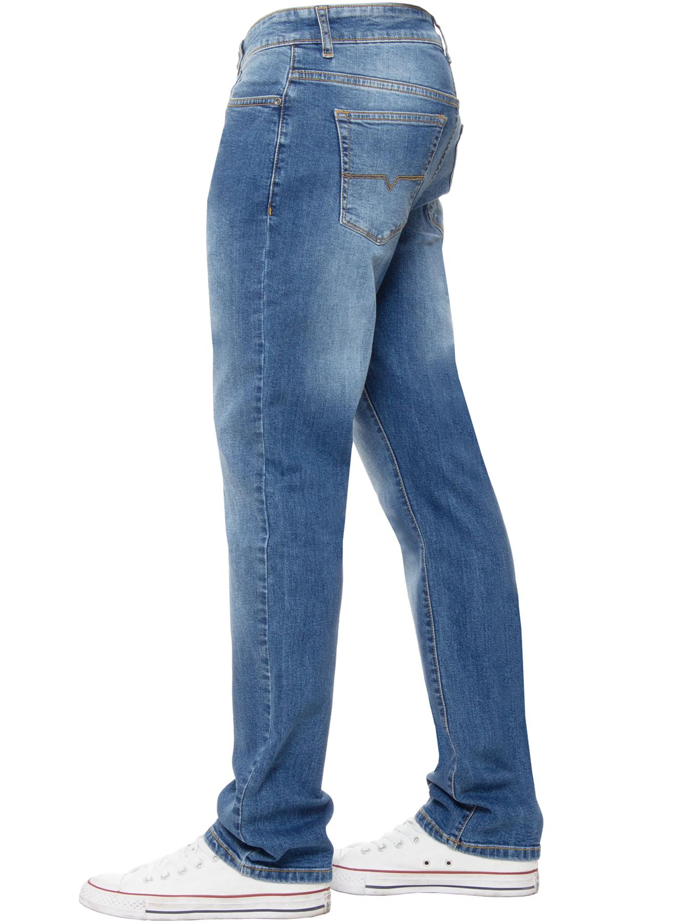 Kruze-Mens-Basic-Straight-Leg-Bootcut-Stretch-Jeans-Denim-Regular-Big-Tall-Waist thumbnail 22
