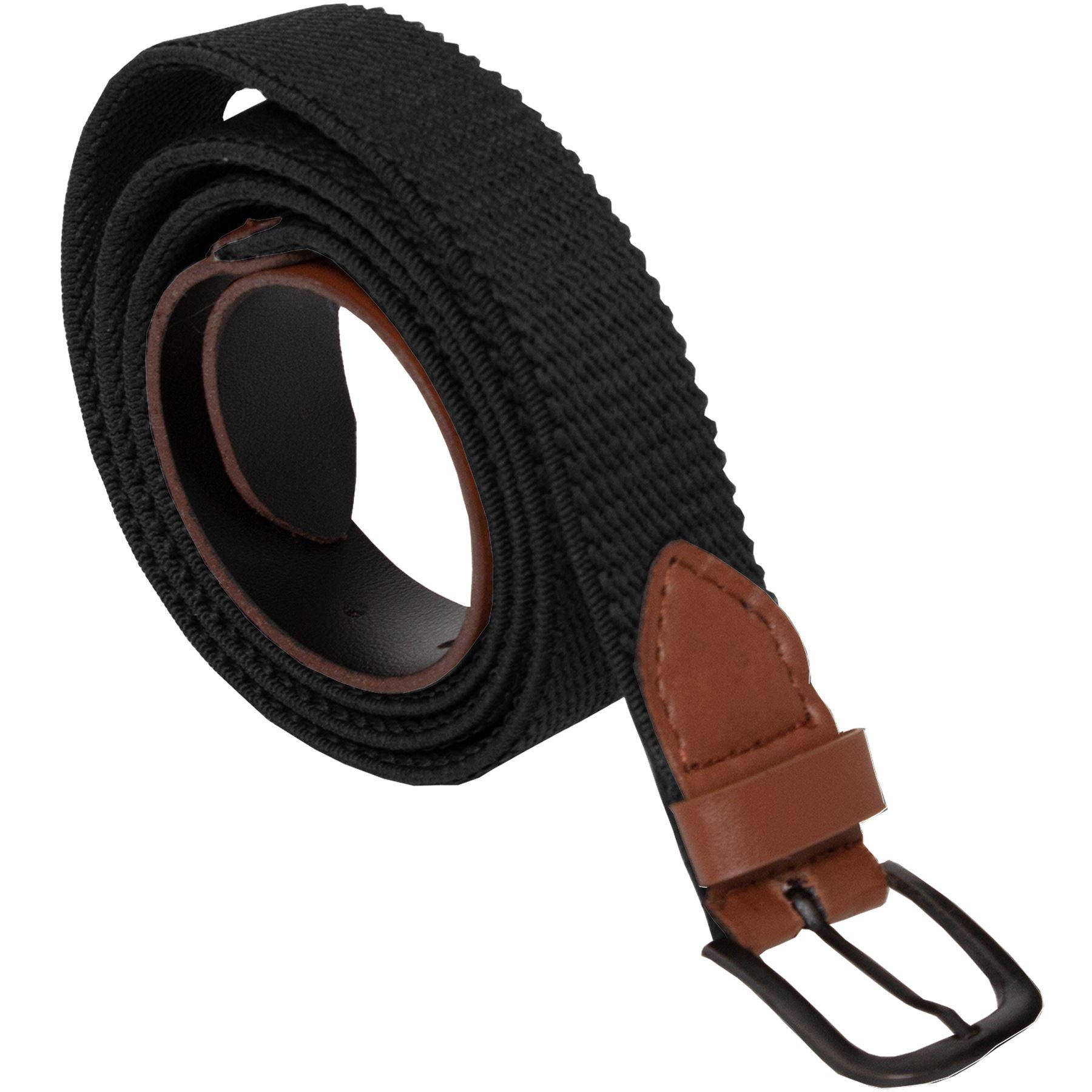 Mens-Ladies-Elasticated-Webbing-Belts-PU-Leather-Trim-Stretch-Canvas-Buckle-Belt Indexbild 11