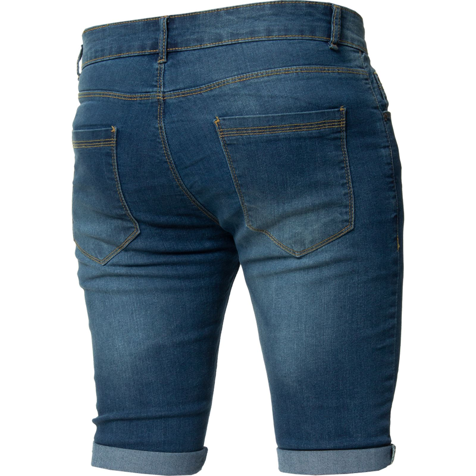 c2b731b5712 Kruze Mens Skinny Slim Fit Stretch Ripped Shorts Summer Denim Half ...