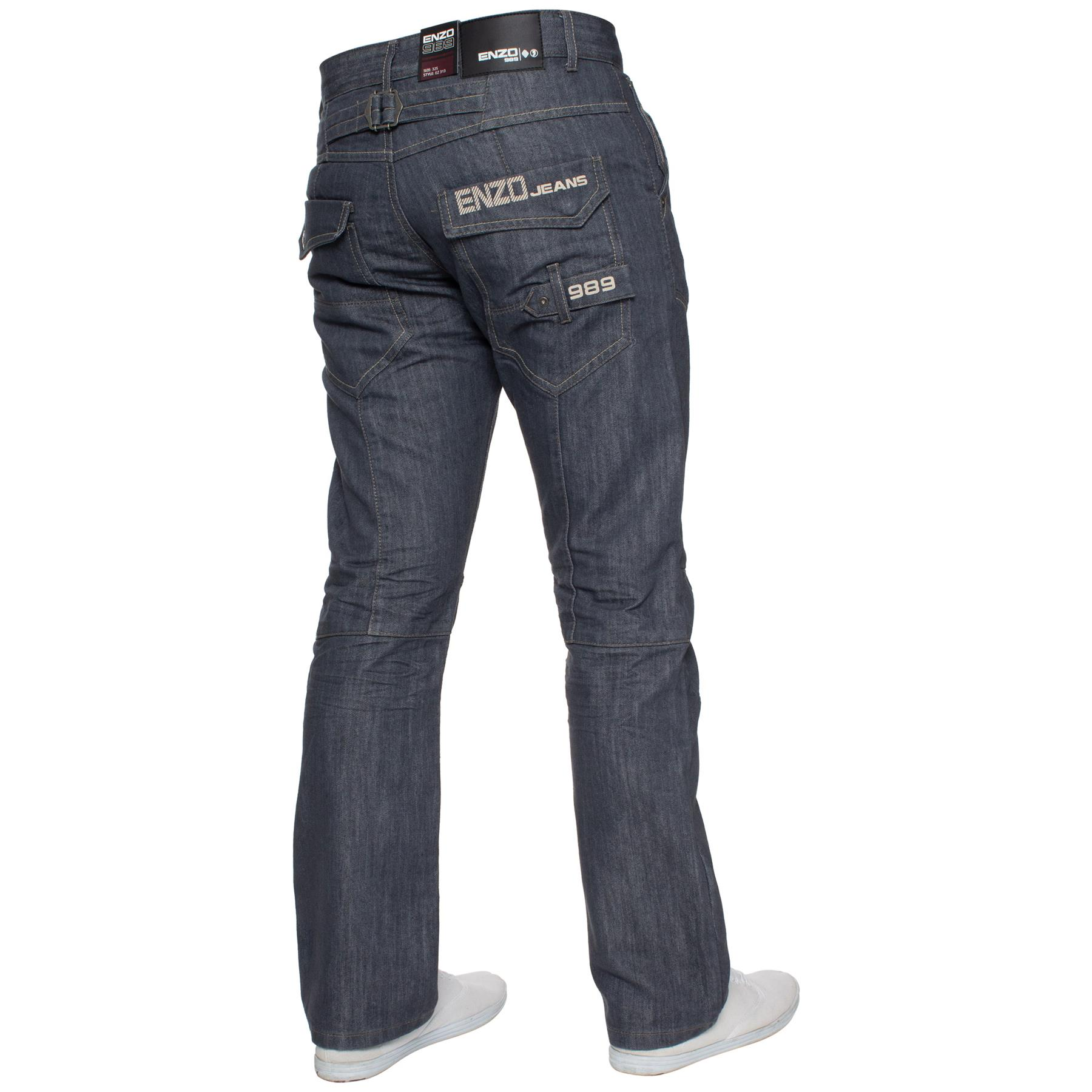 Enzo-Mens-Jeans-Big-Tall-Leg-King-Size-Denim-Pants-Chino-Trousers-Waist-44-034-60-034 miniature 88