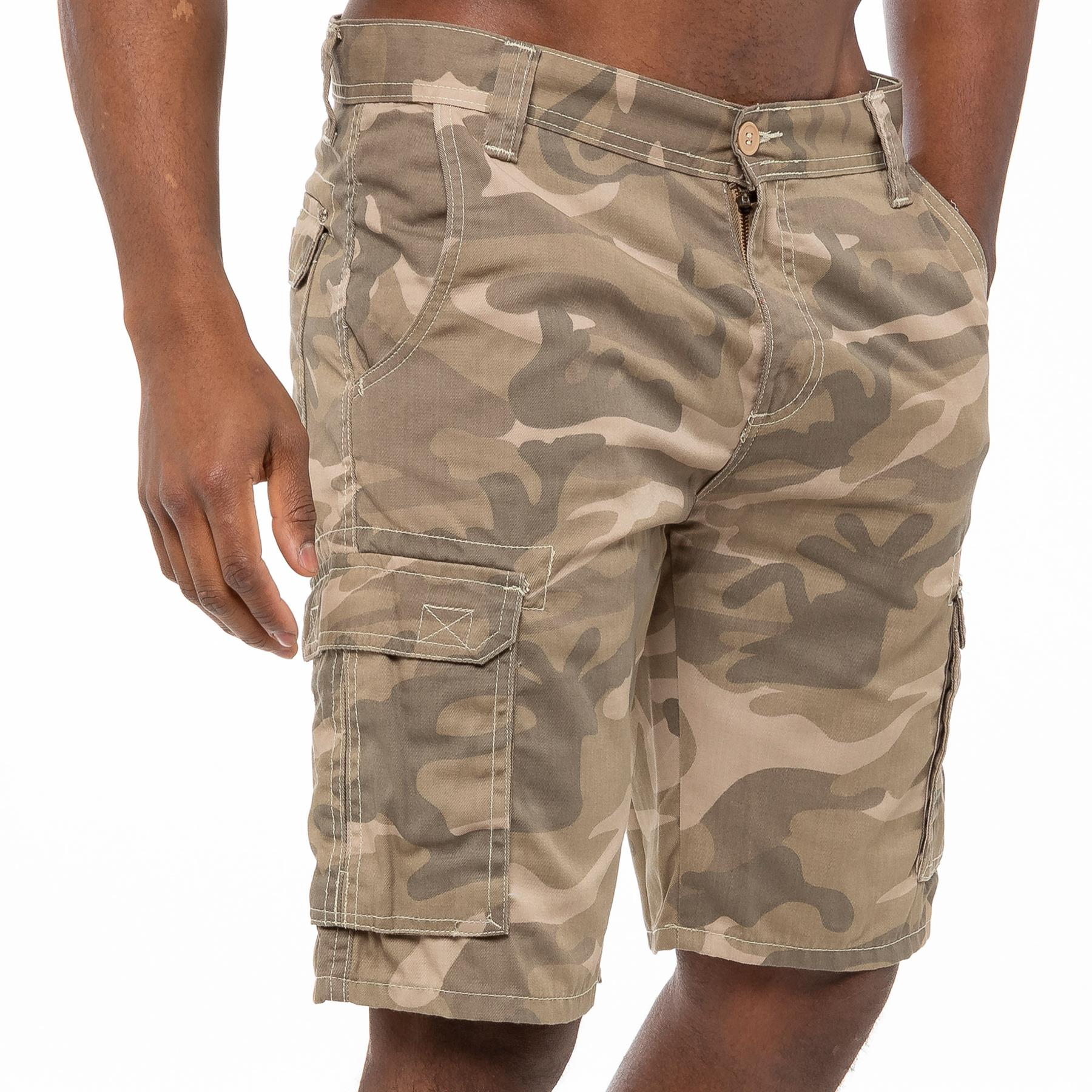 thumbnail 4 - Kruze Jeans Mens Army Combat Shorts Camouflage Cargo Casual Camo Work Half Pants