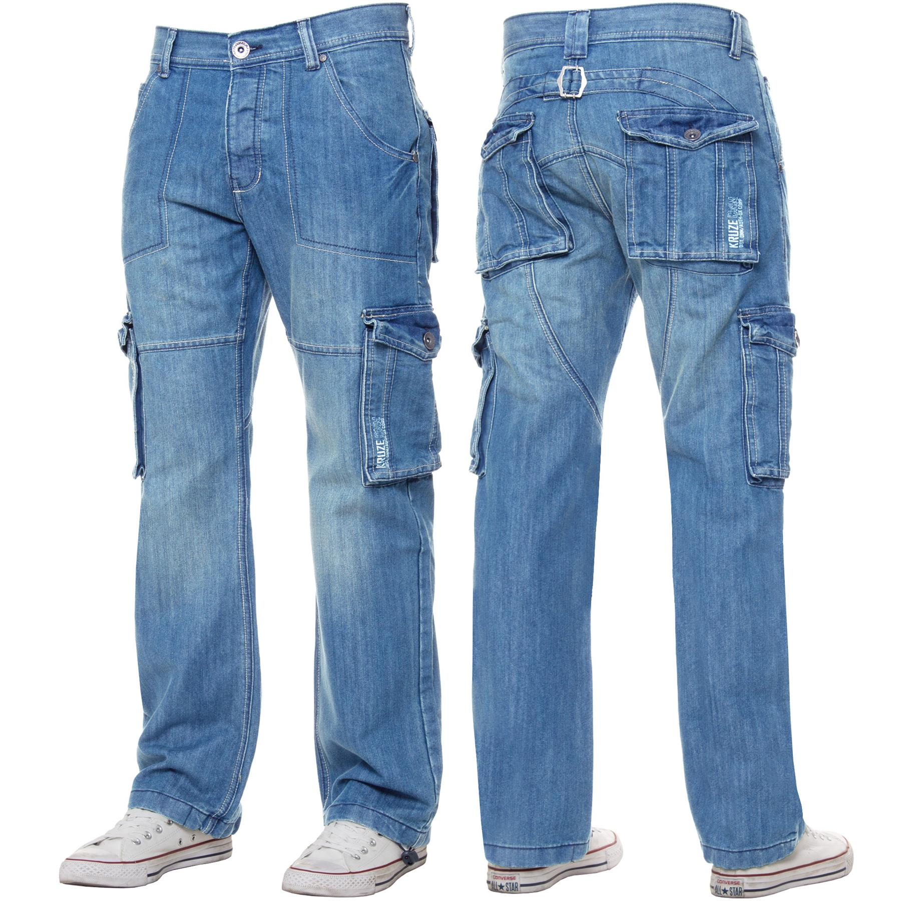 Kruze-Mens-Cargo-Combat-Jeans-Casual-Work-Denim-Pants-Big-Tall-All-Waist-Sizes thumbnail 39