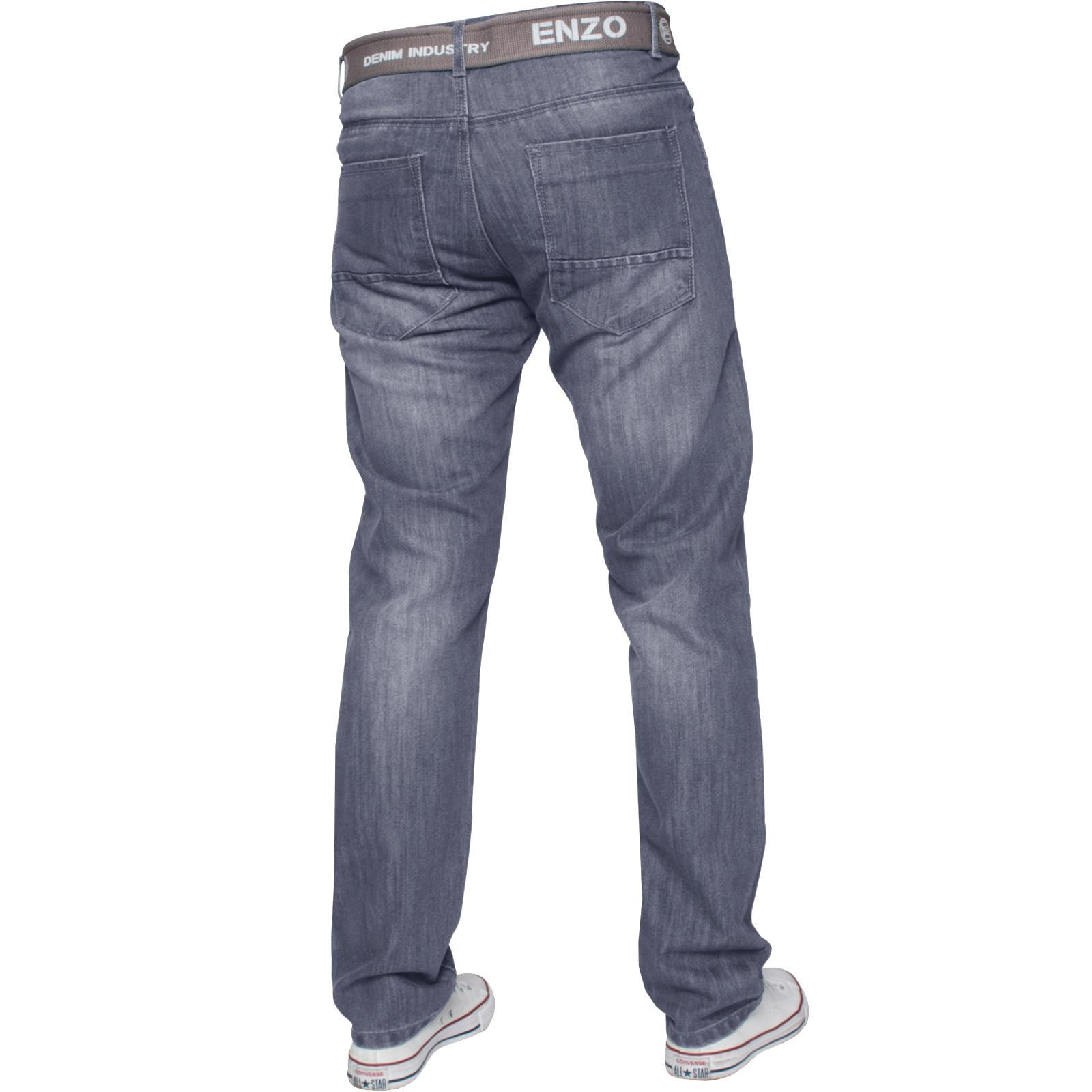 Enzo-Mens-Straight-Leg-Jeans-Regular-Fit-Denim-Pants-Big-Tall-All-Waists-Sizes thumbnail 14