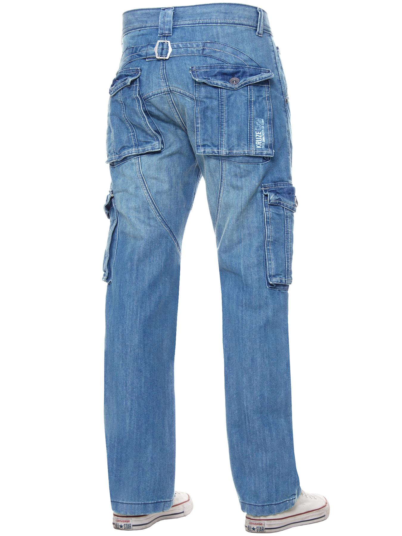 Kruze-Mens-Cargo-Combat-Jeans-Casual-Work-Denim-Pants-Big-Tall-All-Waist-Sizes thumbnail 47