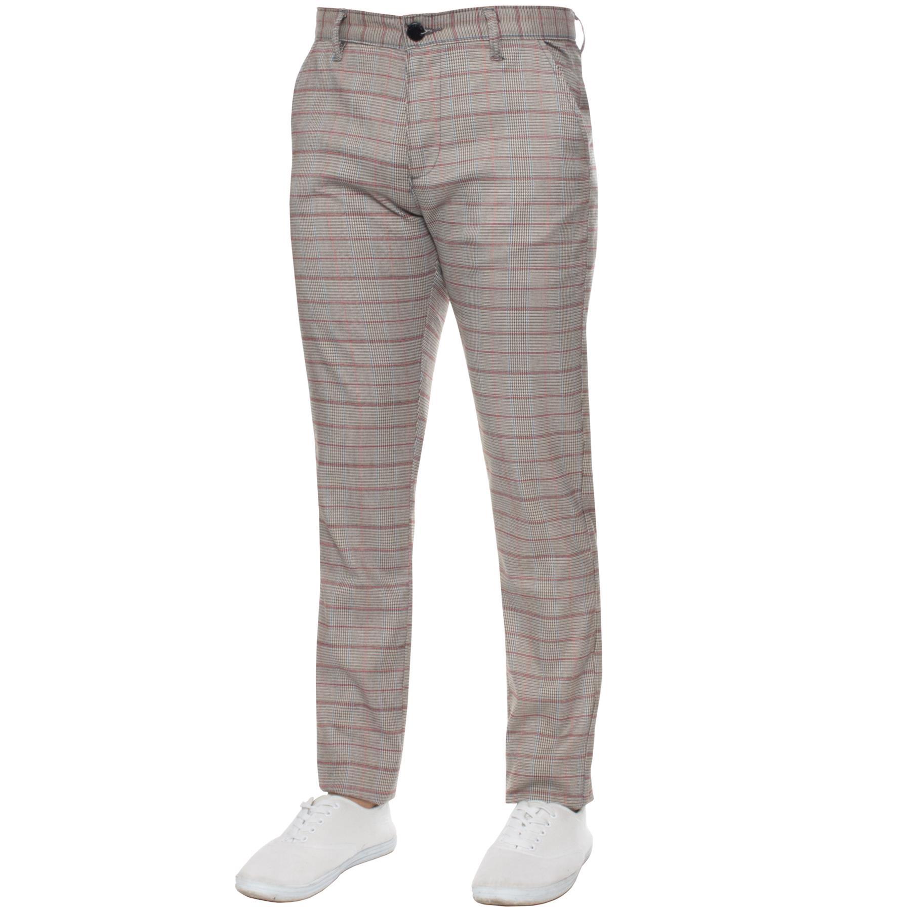 Para-Hombre-a-Cuadros-Pantalones-Slim-Fit-Smart-Casual-Elastico-Suave-Oficina-de-Trabajo-Pantalones miniatura 8