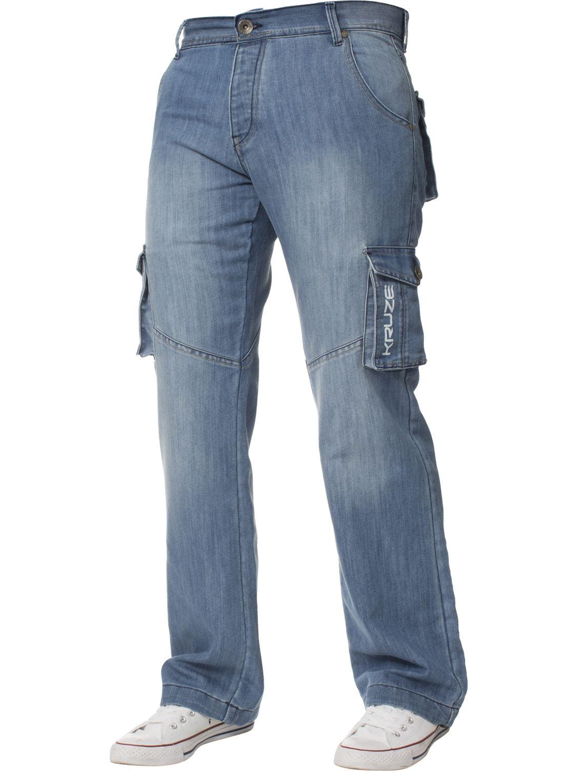 Grandes-jeans-para-hombre-de-combate-de-Kruze-Rey-Alto-Pierna-Cargo-Pantalones-Jeans-Pantalones miniatura 29