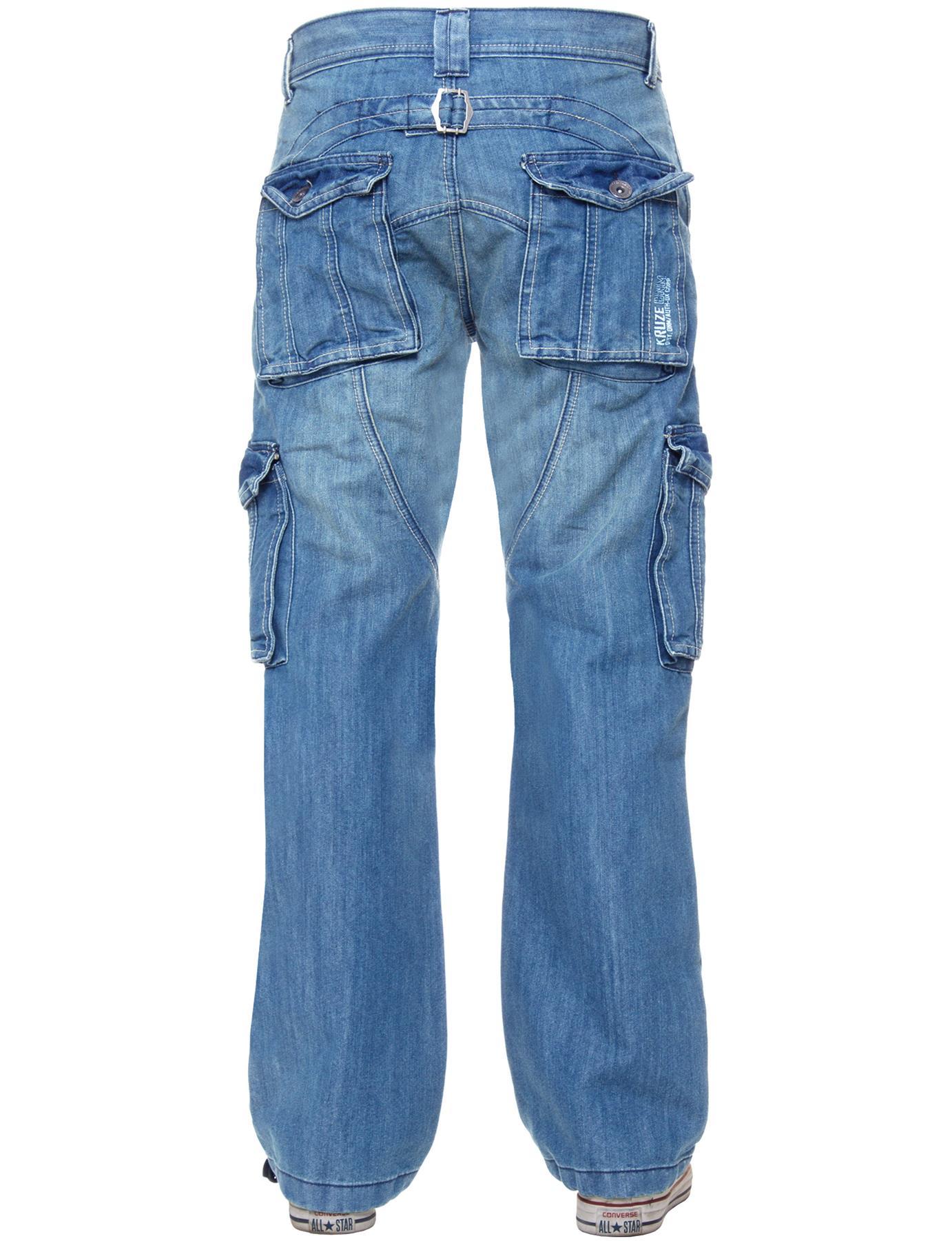 Kruze-Mens-Desginer-Cargo-Combat-Jeans-Trousers-Denim-Pants-Big-Tall-All-Waists thumbnail 16