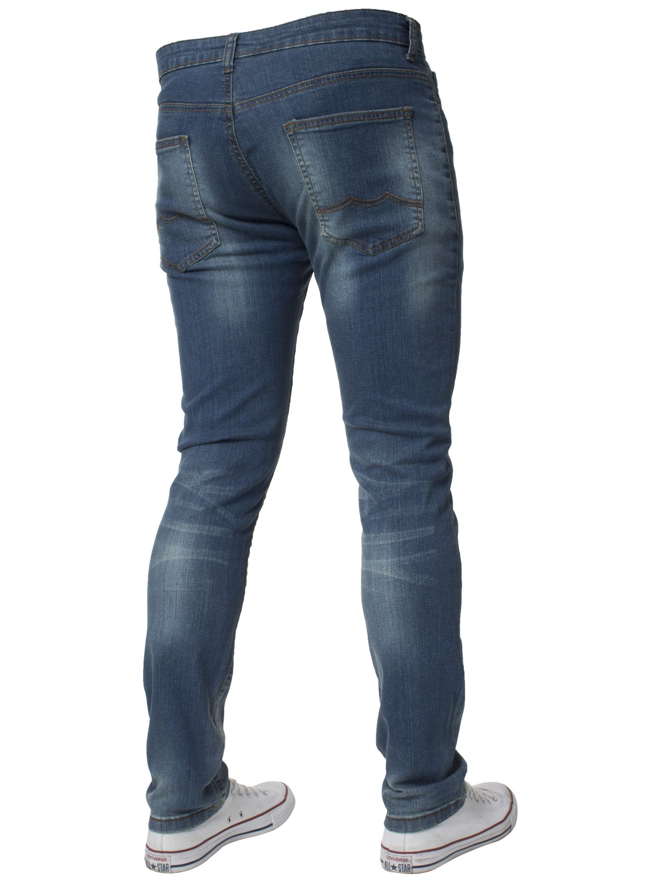 Mens-Skinny-Stretch-Jeans-Slim-Fit-Flex-Denim-Trousers-Pants-King-Sizes-by-Kruze thumbnail 23
