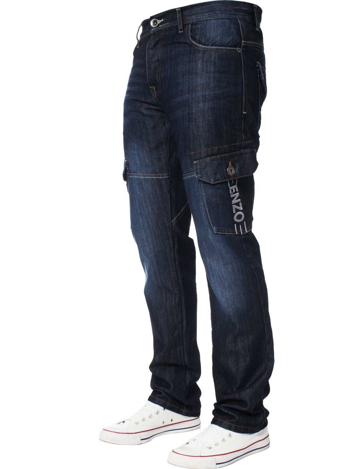 Enzo-Designer-Mens-Regular-Fit-Jeans-Straight-Leg-Denim-Trousers-Pants-All-Waist thumbnail 5