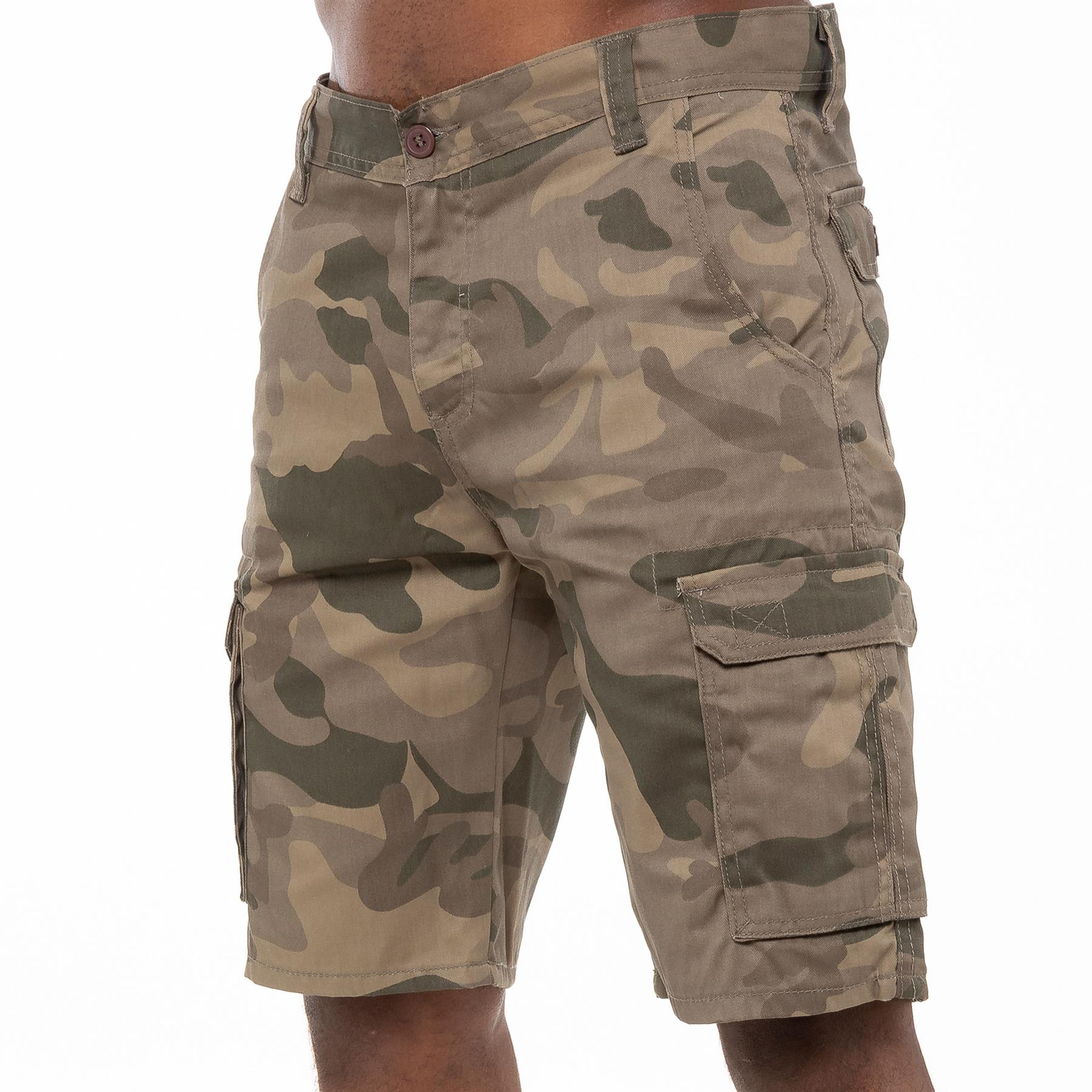thumbnail 26 - Kruze Jeans Mens Army Combat Shorts Camouflage Cargo Casual Camo Work Half Pants