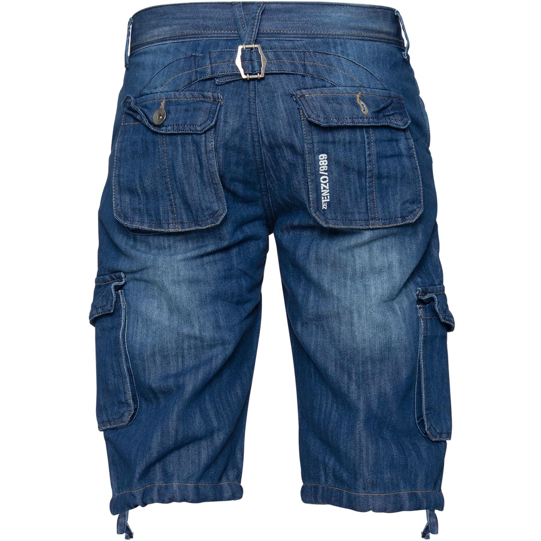 ENZO-Jeans-para-hombre-de-carga-combate-informal-de-verano-Shorts-Pantalones-Cortos-de-Jeans-Todas miniatura 6