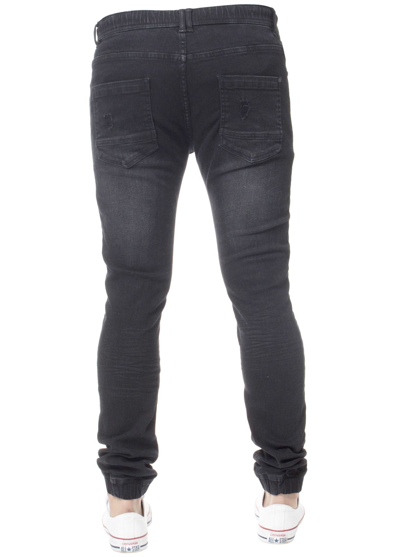 New Enzo Mens Cuffed Jeans Stretch Fit Ripped Designer Denim Jogger Joger Riped