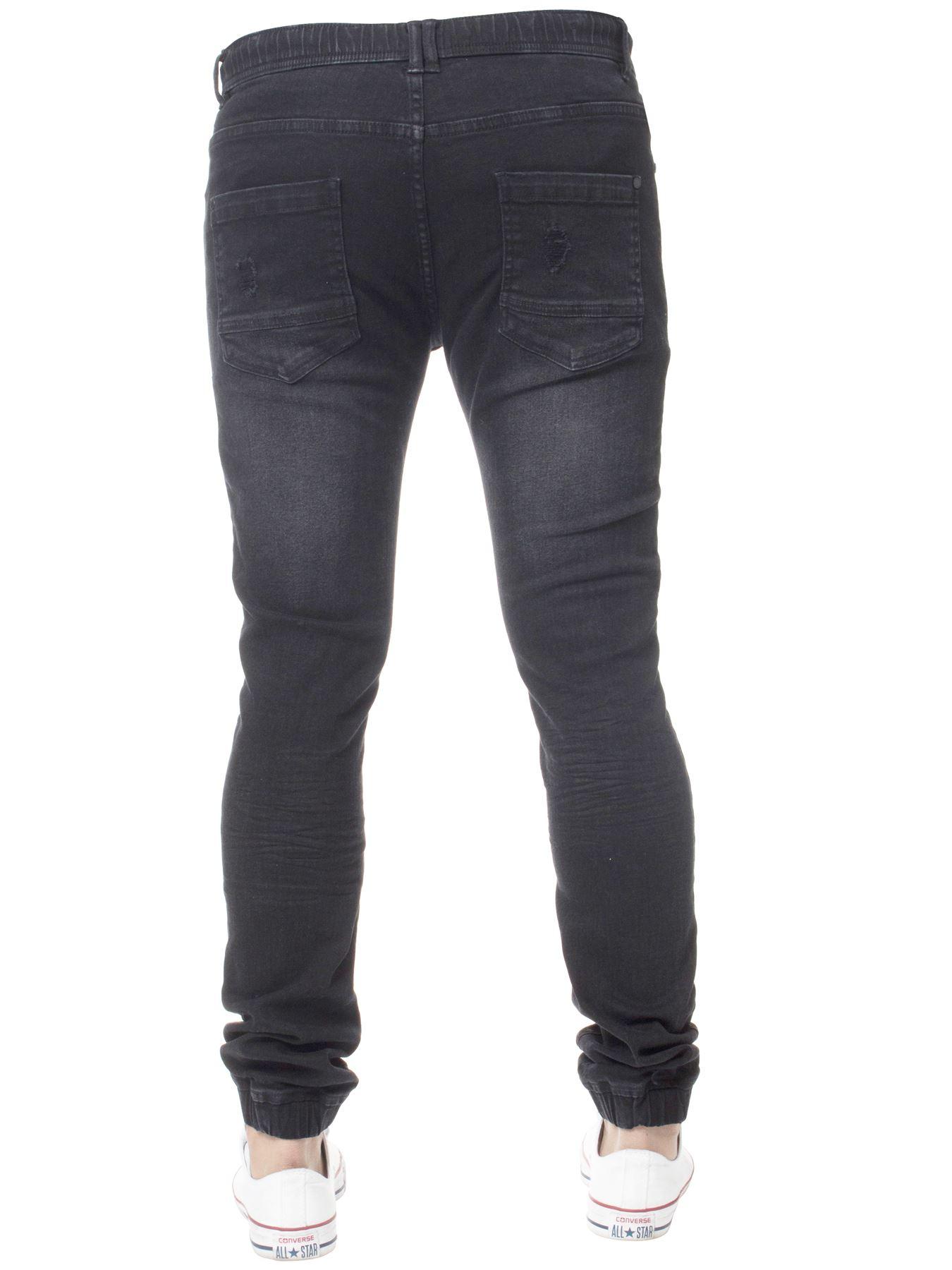 Enzo-Mens-Cuffed-Jeans-Stretch-Fit-Ripped-Denim-Jogger-Pants-Big-Tall-All-Waists thumbnail 6