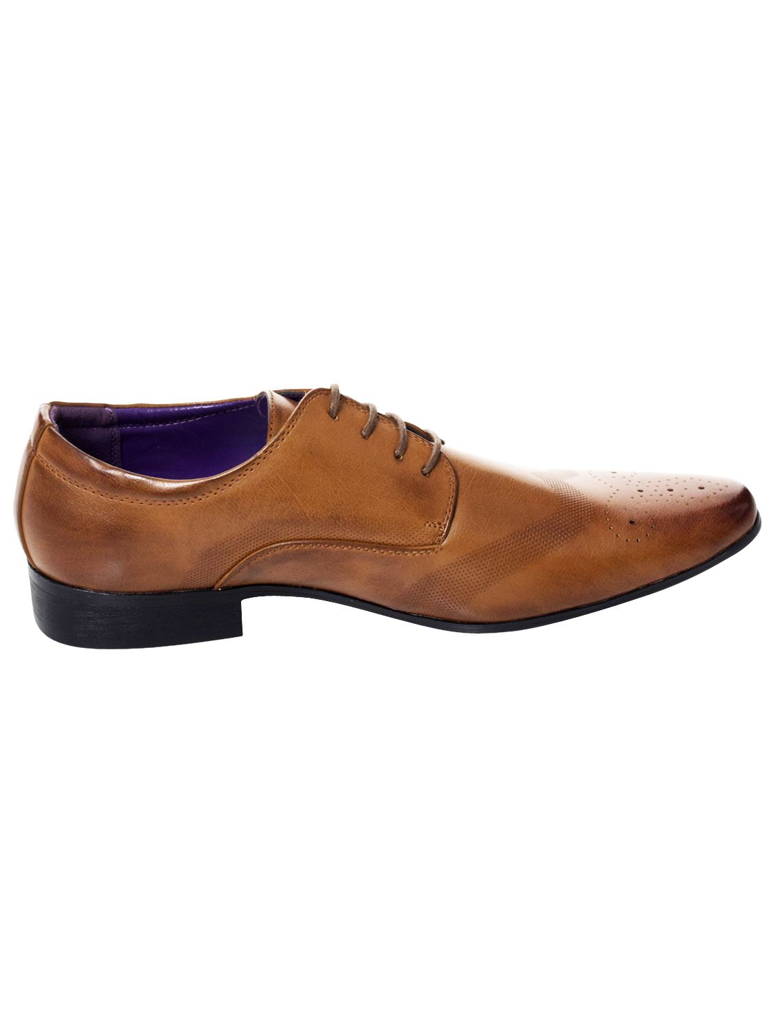 Mens-Faux-Leather-Shoes-Smart-Formal-Wedding-Office-Lace-Up-Designer-Brogues thumbnail 7