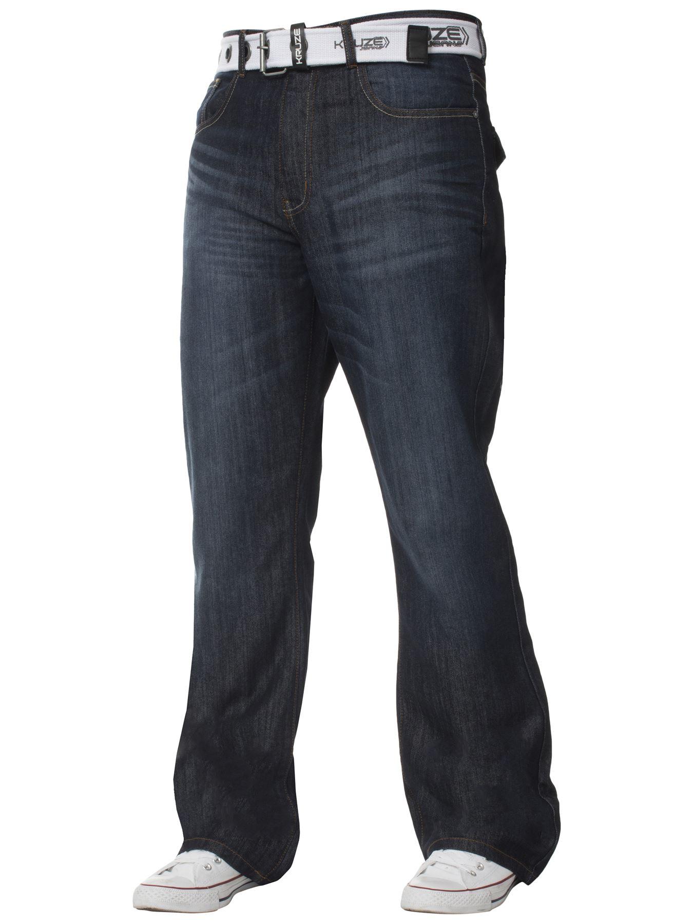 Kruze-Denim-Nuevo-Para-Hombre-Bootcut-Pierna-Ancha-Flare-Pantalones-Cintura-Tallas-Grandes-Rey-todos miniatura 9