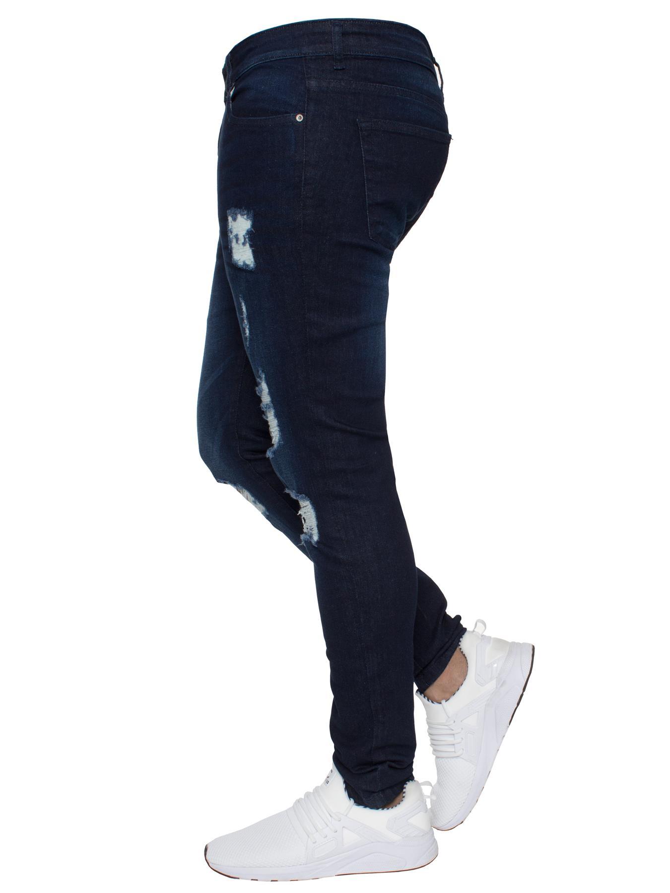 Para-hombre-Super-Skinny-Ripped-Jeans-Pantalones-Ajustados-desgastados-Denim-Envejecido-Todas miniatura 9