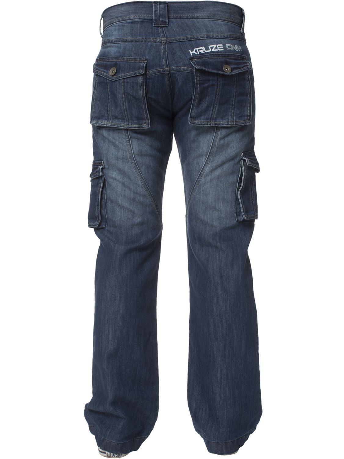 Grandes-jeans-para-hombre-de-combate-de-Kruze-Rey-Alto-Pierna-Cargo-Pantalones-Jeans-Pantalones miniatura 4