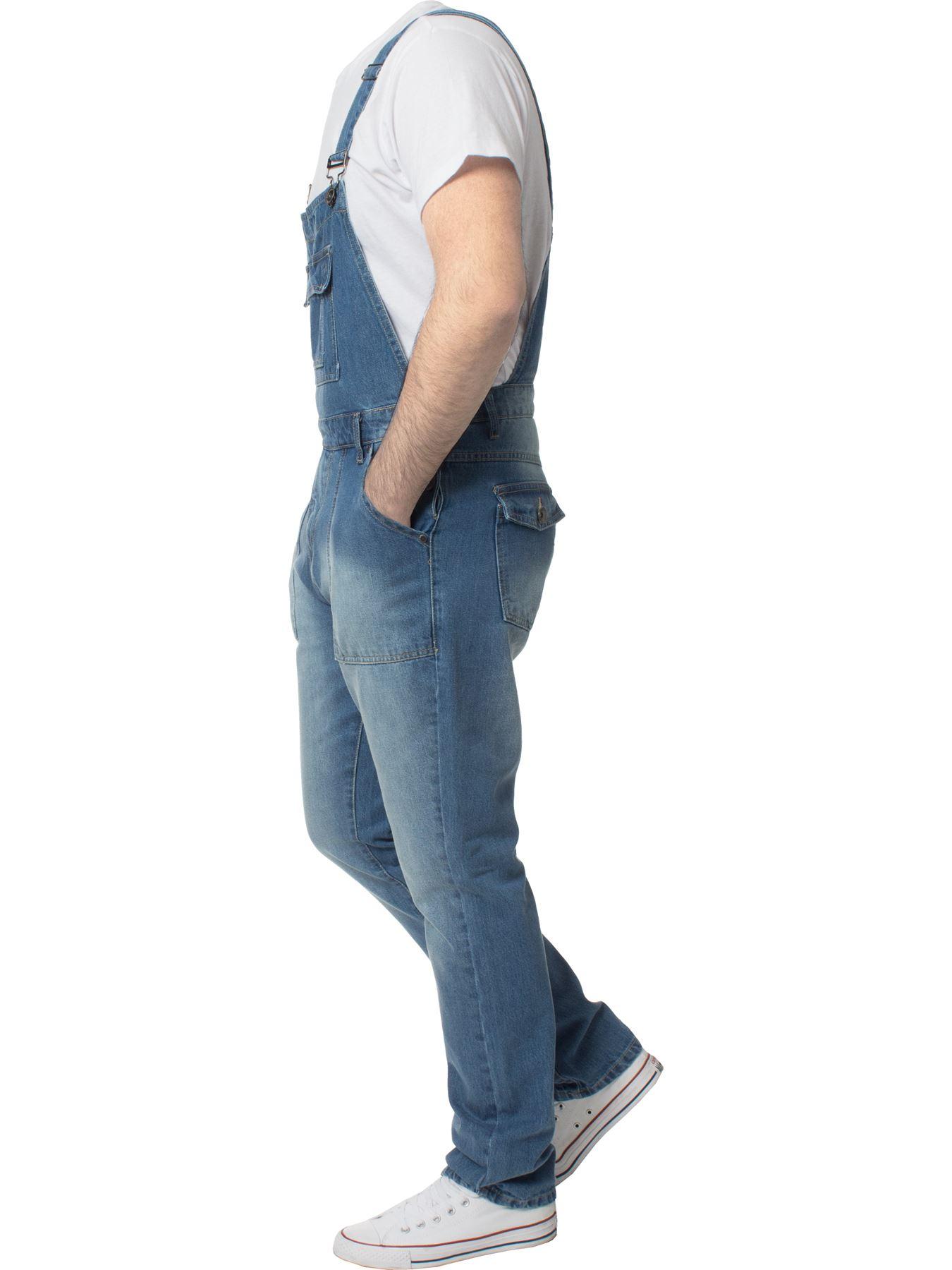 ENZO-Jeans-Hombre-Denim-Azul-Peto-Peto-overoles-Todas-Cinturas-Talla-30-034-50-034 miniatura 7