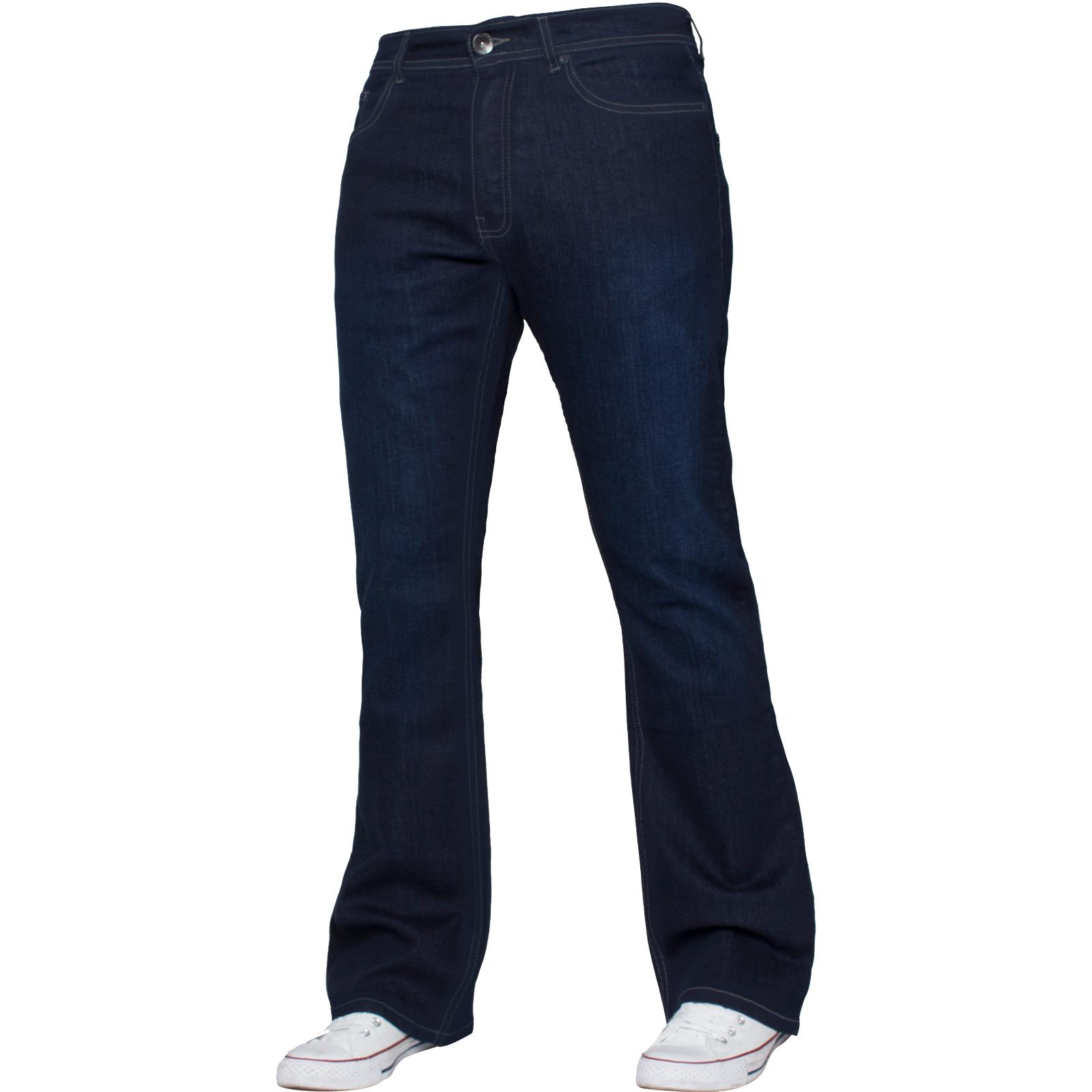New-Enzo-Mens-Designer-Bootcut-Wide-Leg-Jeans-Flared-Stretch-Denim-All-Waists thumbnail 18