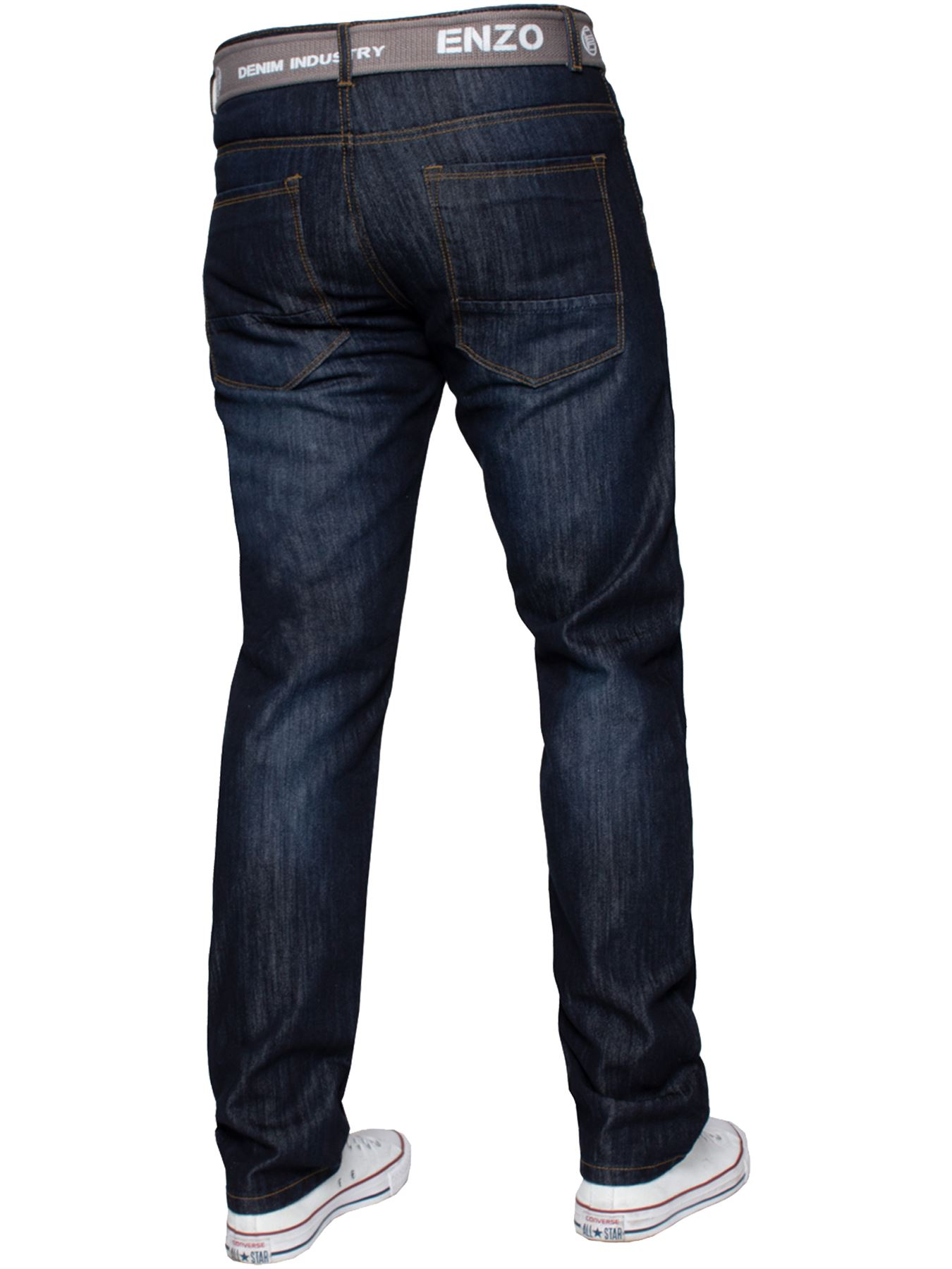 Enzo-Mens-Straight-Leg-Jeans-Regular-Fit-Denim-Pants-Big-Tall-All-Waists-Sizes thumbnail 17